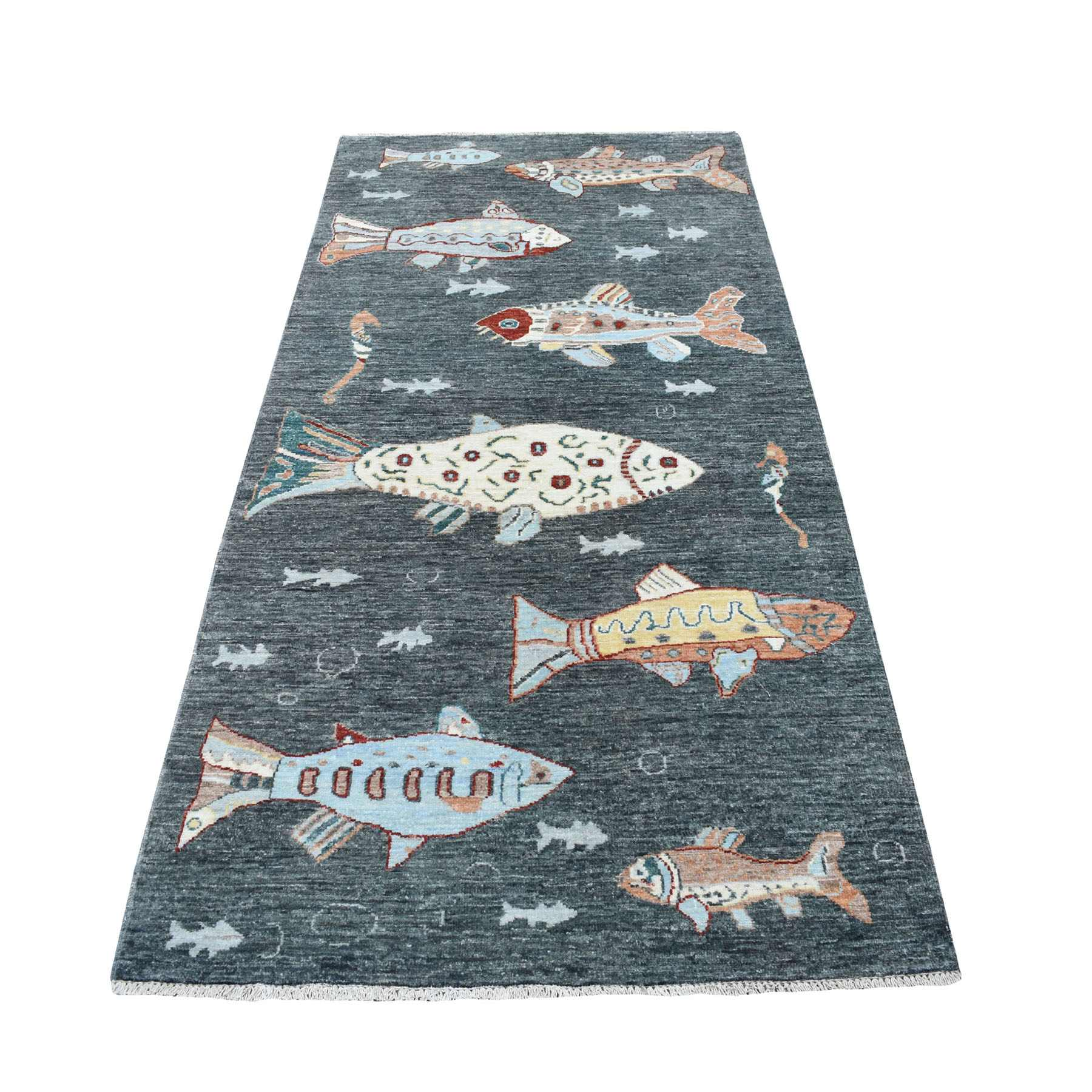 "3'7""x7'5"" Charcoal Black Oceanic Fish Design Peshawar Natural Wool Wide Runner Hand Woven Oriental Rug"