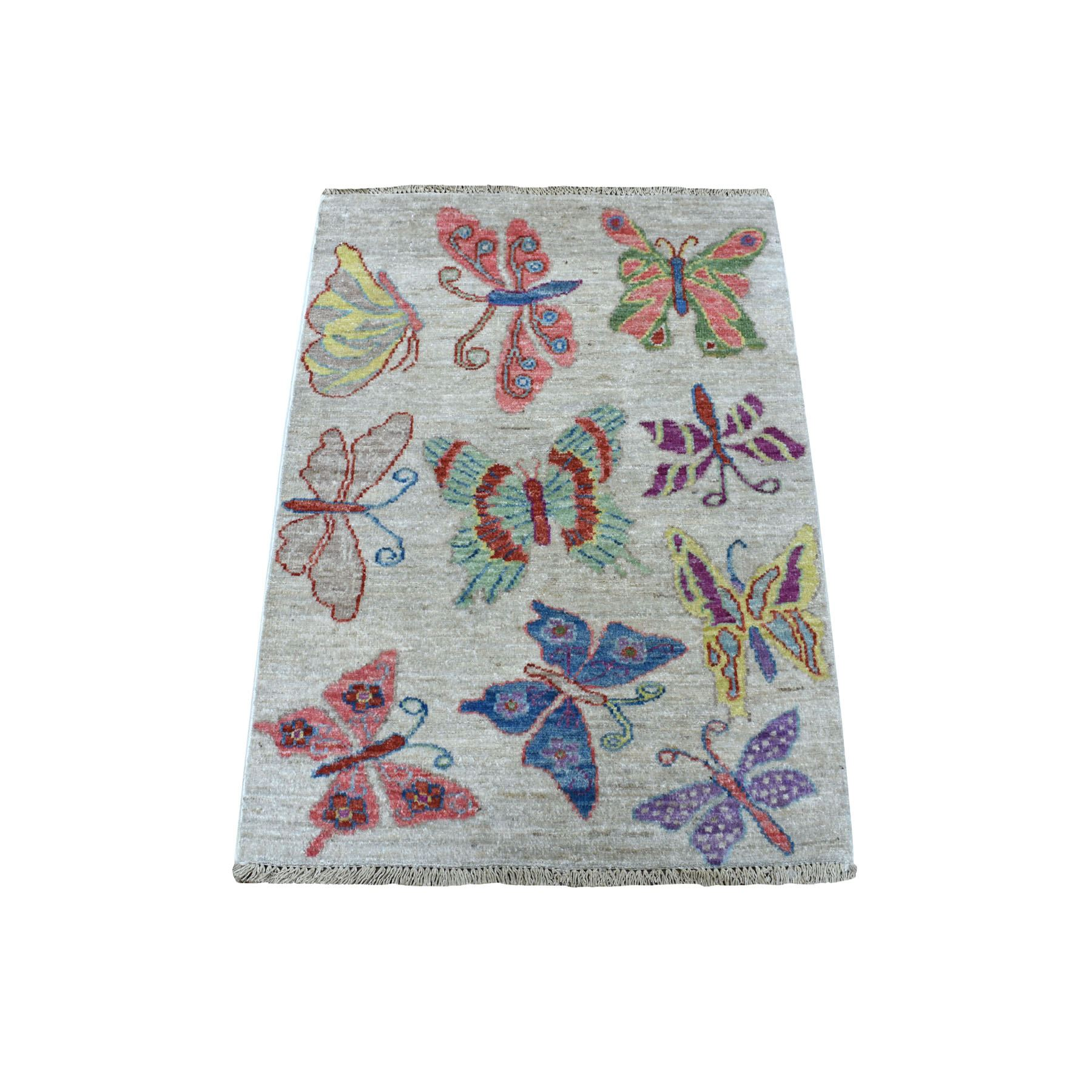"2'1""x2'10"" Peshawar With Colorful Butterflies Design Natural Wool Hand Woven Oriental Rug"