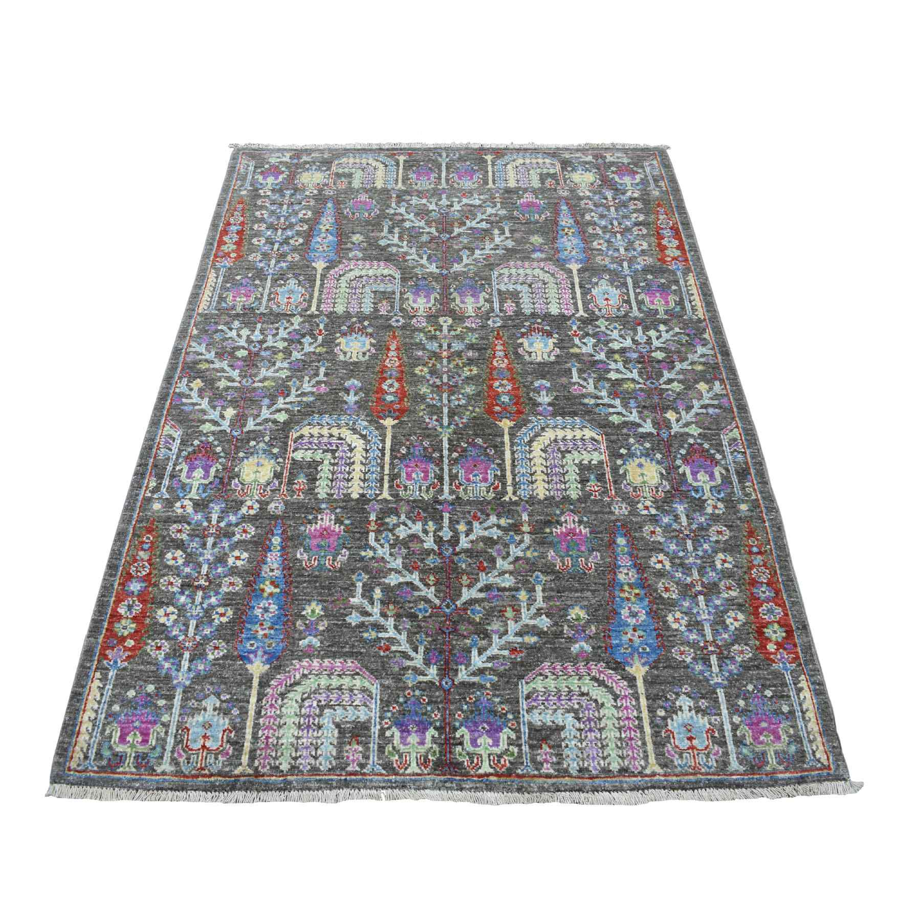 4'x6' Gray With Pop Of Color Willow And Cypress Tree Design Hand Woven Oriental Rug