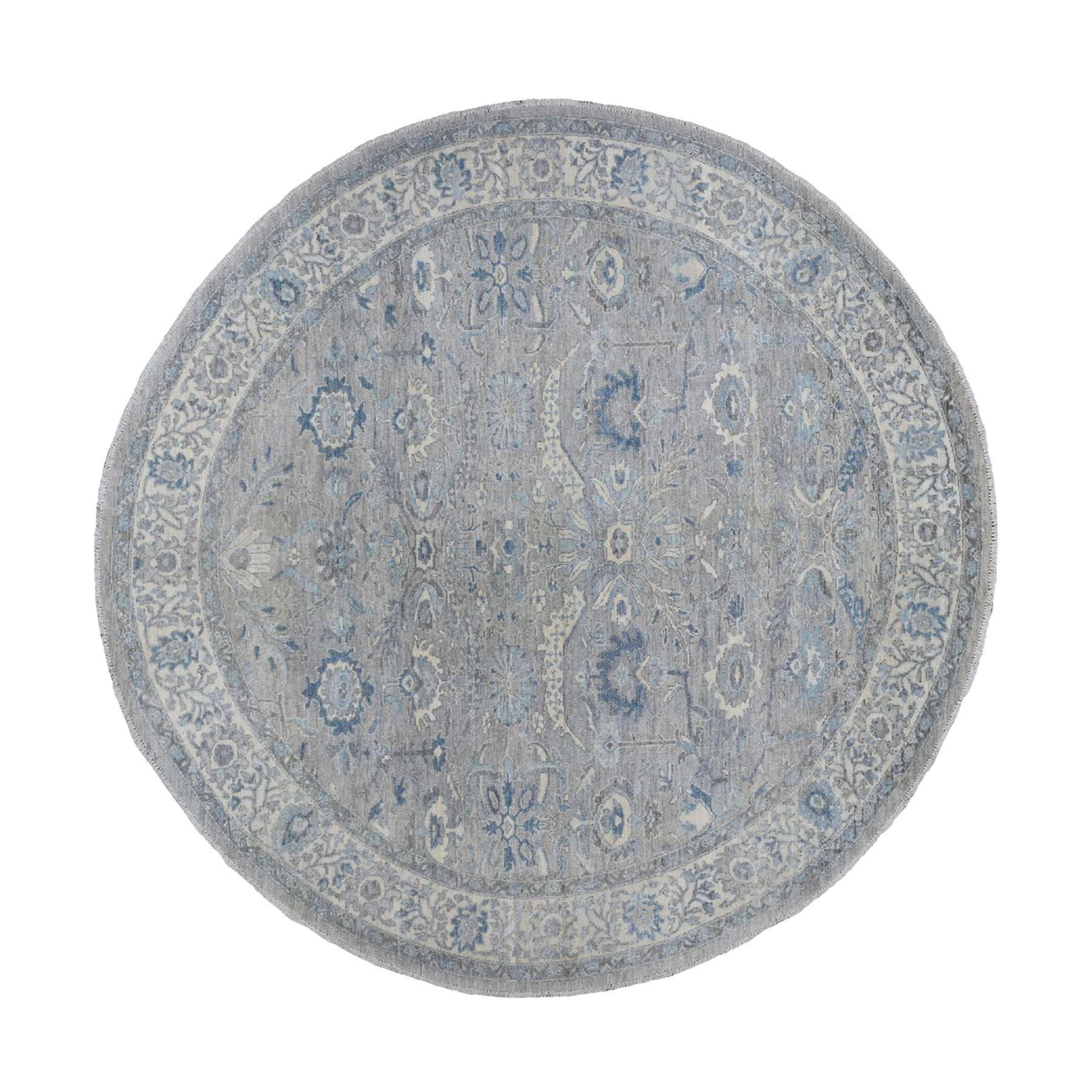 8'x8' Gray Afghan Peshawar with Ziegler Mahal Design Organic Wool Hand Woven Round Oriental Rug