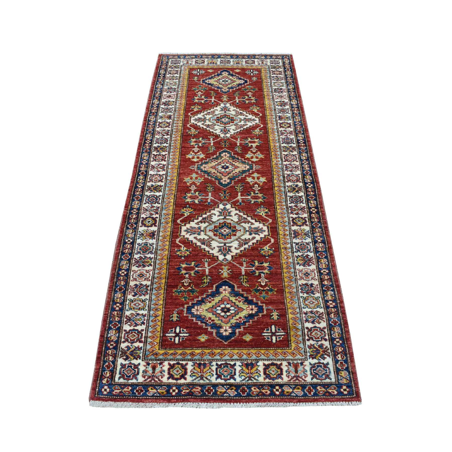 "2'9""x6'9"" Red Super Kazak Geometric Design Afghan Wool Hand Woven Runner Oriental Rug"