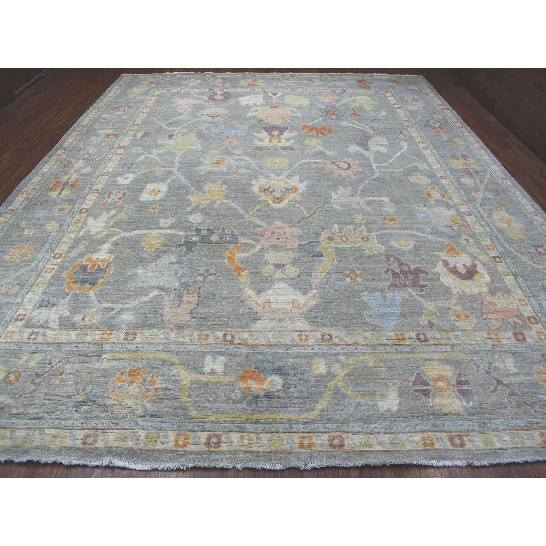 "12'x14'7"" Oversize Gray Angora Oushak With Sun-Dried Wool Hand Woven Oriental Rug"