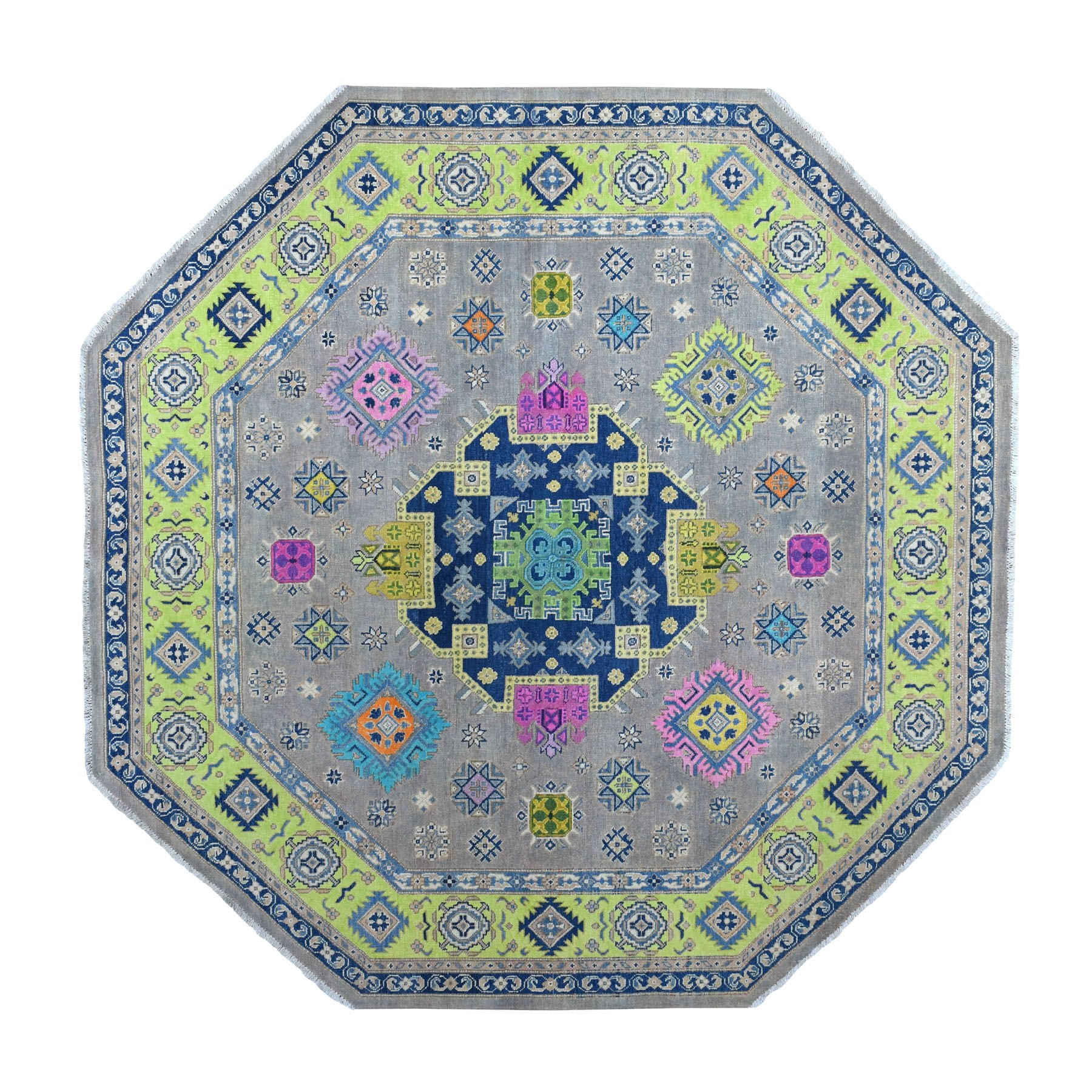"7'9""x7'9"" Colorful Gray Fusion Kazak Organic Wool Octagon Hand Woven Oriental Rug"