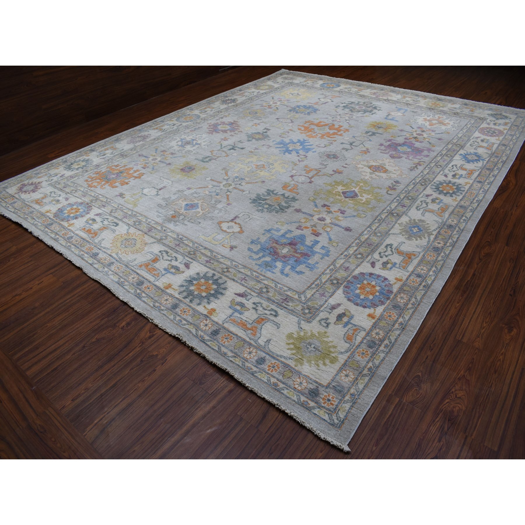 "11'8""x14'7"" Gray Oversize Angora Oushak With Floral Motifs Pure Wool Hand Woven Oriental Rug"
