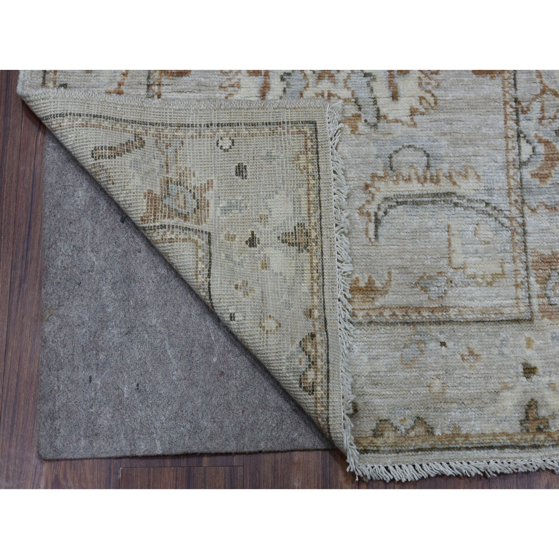 "2'9""x7'10"" Monochromatic Color with Brown Angora Oushak Vibrant Wool Hand Woven Runner Oriental Rug"