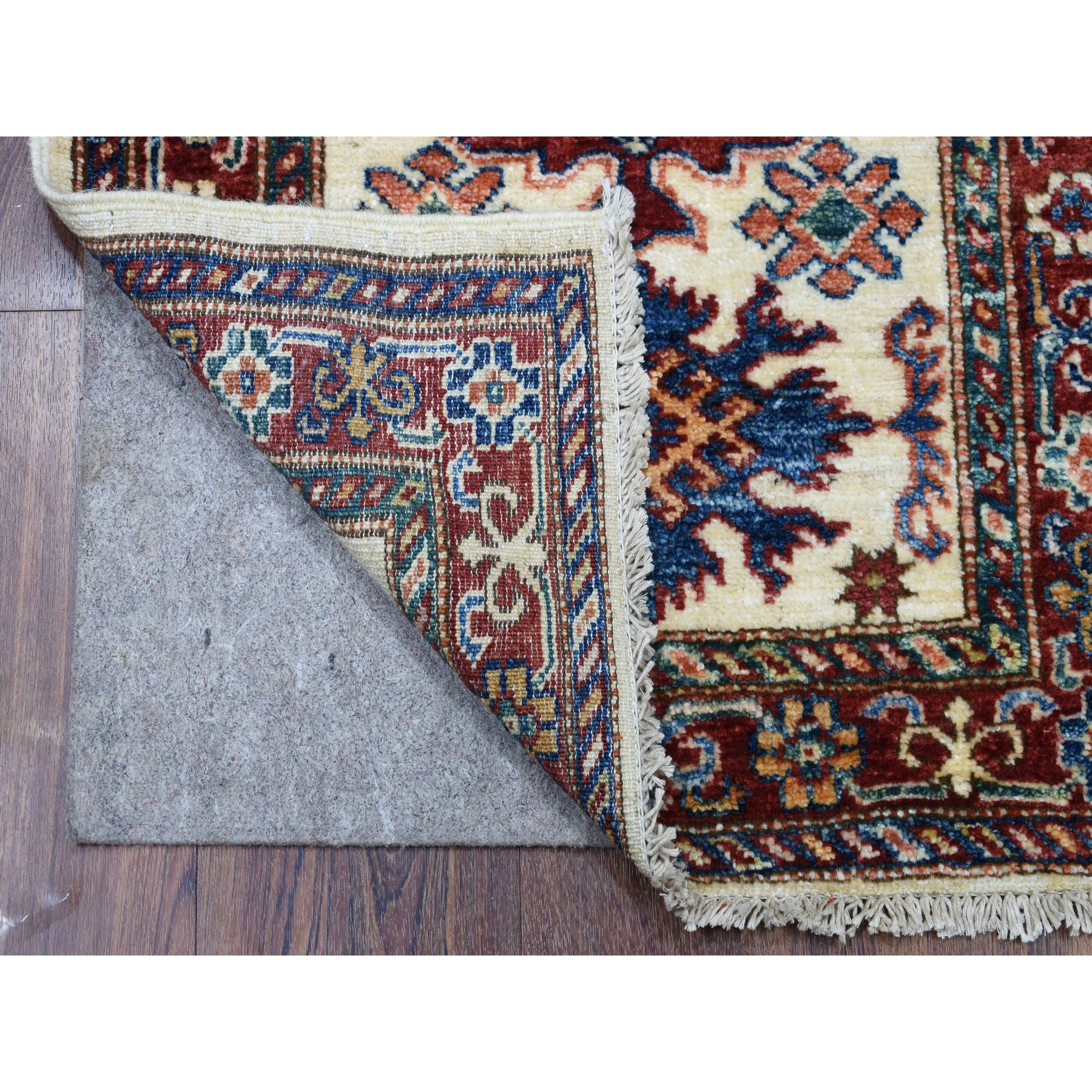 "2'x5'10"" Ivory Hand Woven Tribal Design Pure Wool Super Kazak Oriental Runner Rug"