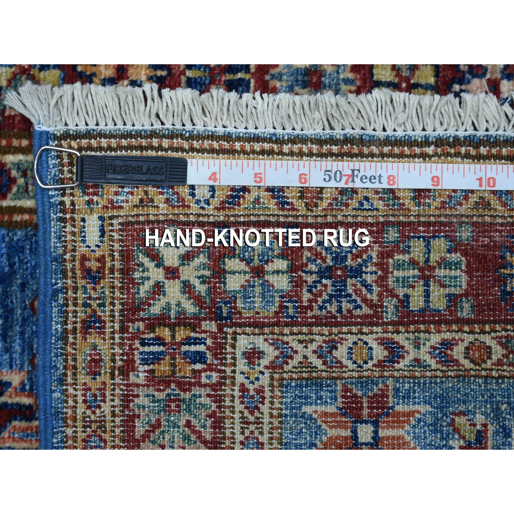 2'x6' Blue Hand Woven Tribal Design Super Kazak Pure Wool Oriental Runner Rug