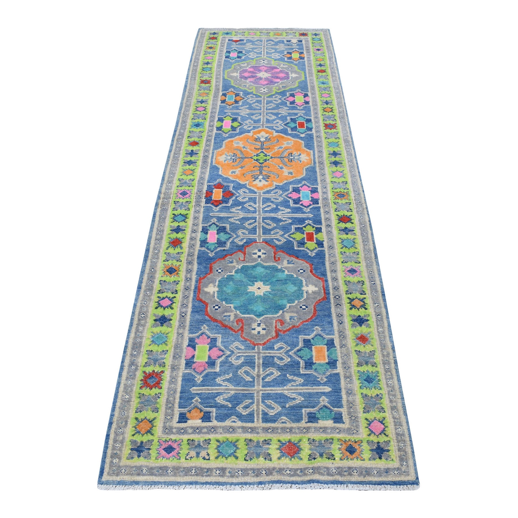 "2'8""x9'5"" Blue Fusion Kazak Geometric Design Natural Wool Hand Woven Runner Oriental Rug"
