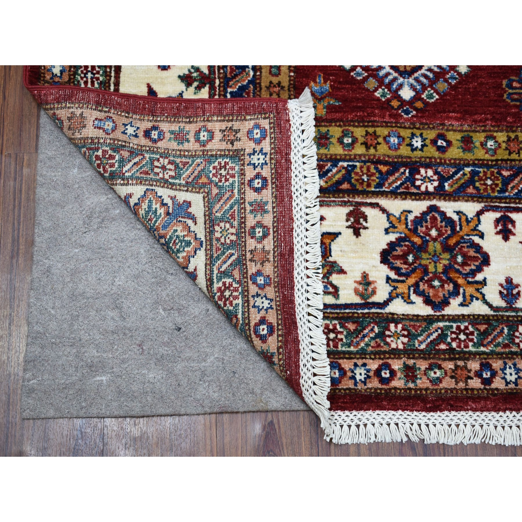 "6'5""x9'1"" Red Hand Woven Tribal Design Super Kazak Pure Wool Oriental Rug"