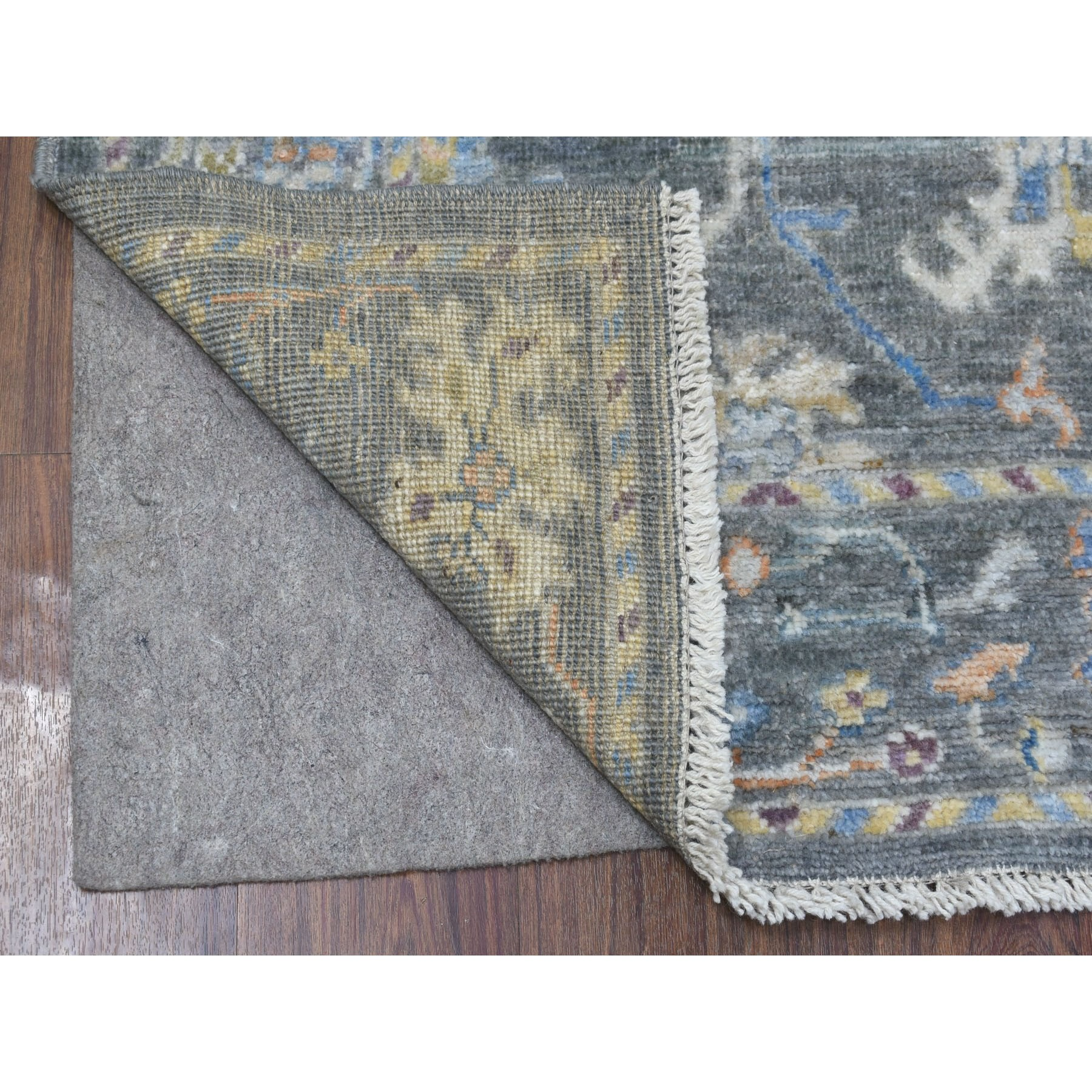 "2'10""x8' Dark Gray Angora Oushak In A Colorful Palette Pure Wool Hand Woven Oriental Runner Rug"