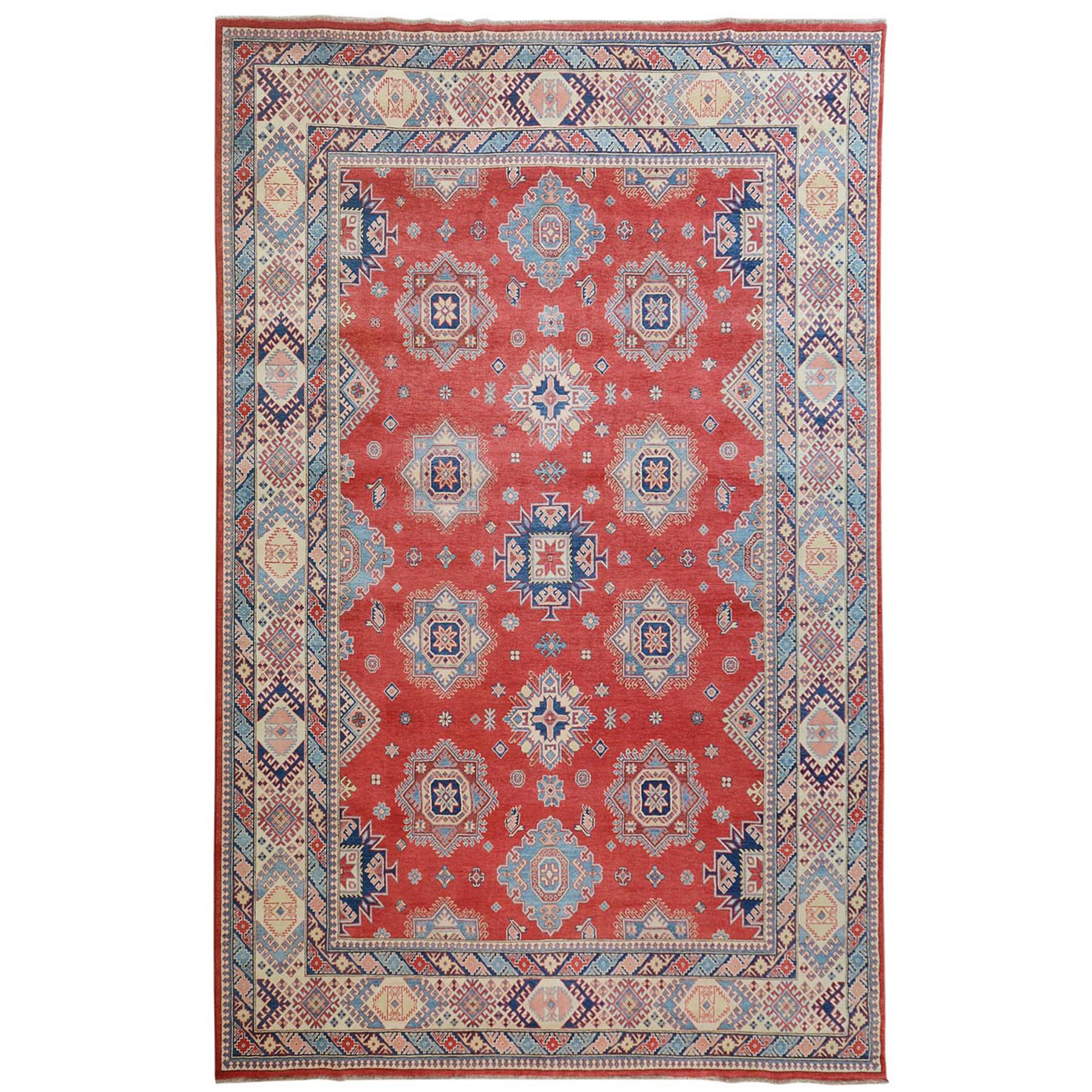 "10'x13'6"" Red Special Kazak Geometric Design Pure Wool Hand Woven Oriental Rug"