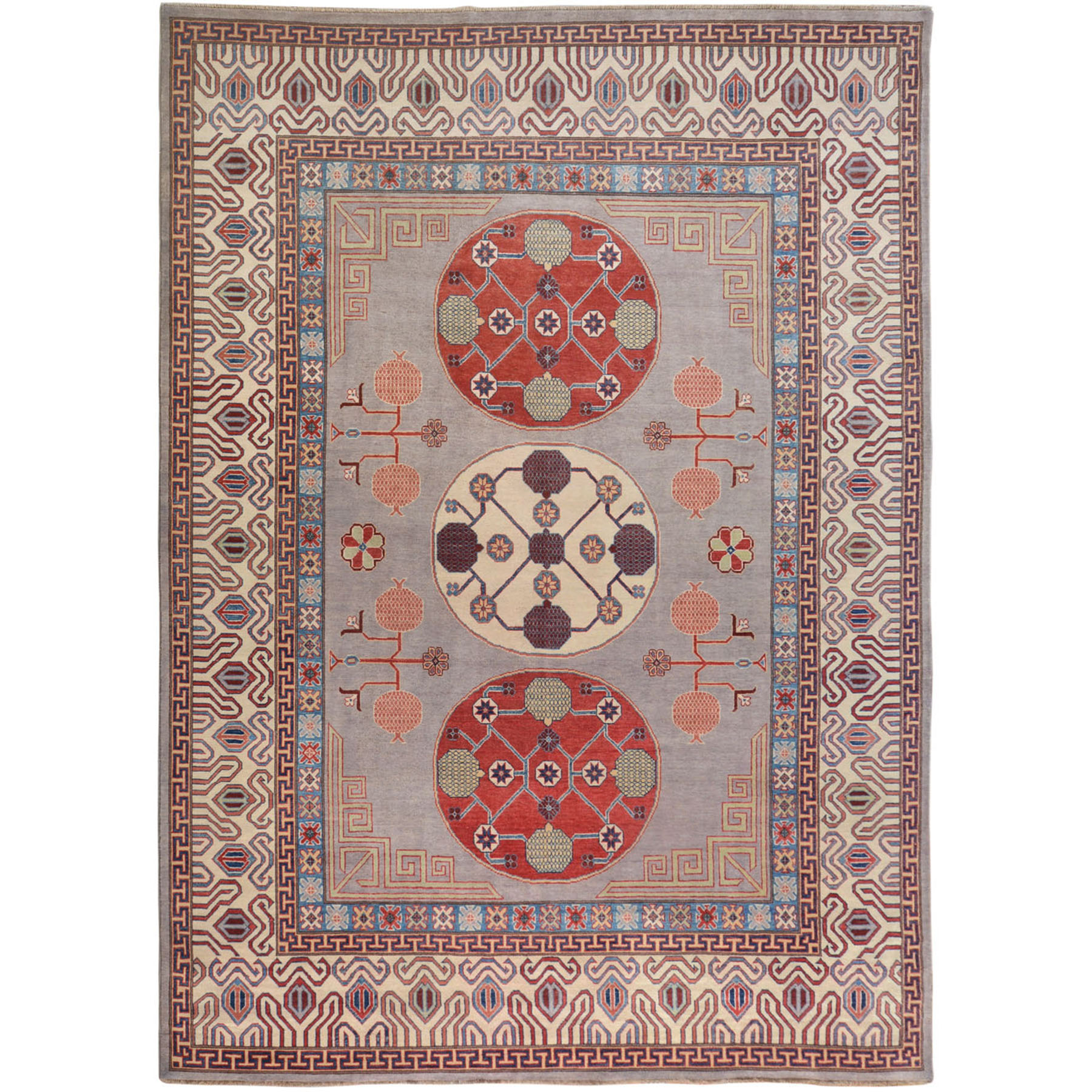 "9'1""x11'9"" Gray Special kazak With Khotan Design Pure Wool Hand Woven Oriental Rug"