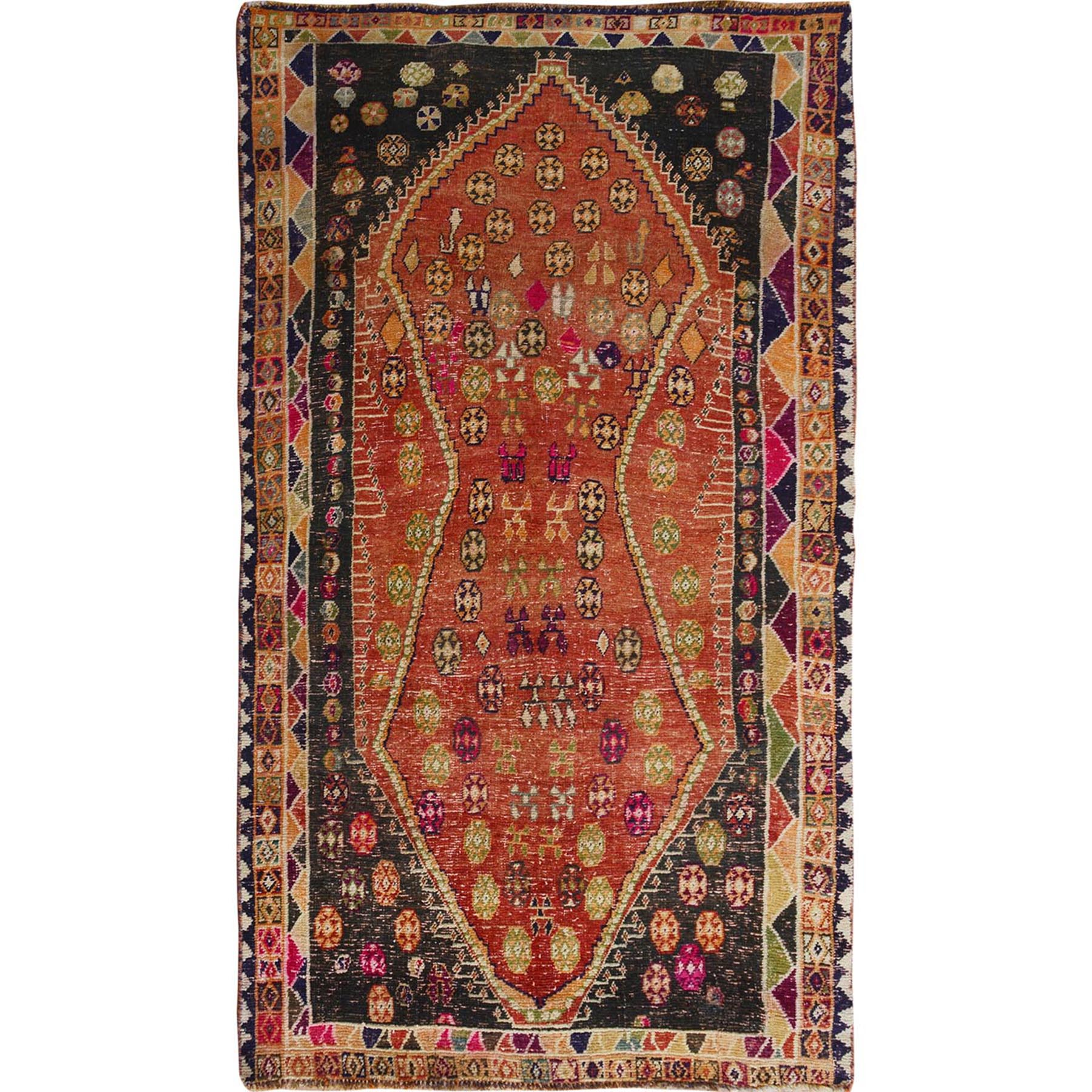 "4'2""x7'6"" Burnt Orange Persian Gabbeh Old And Worn Down Pure Wool Hand Woven Oriental Rug"