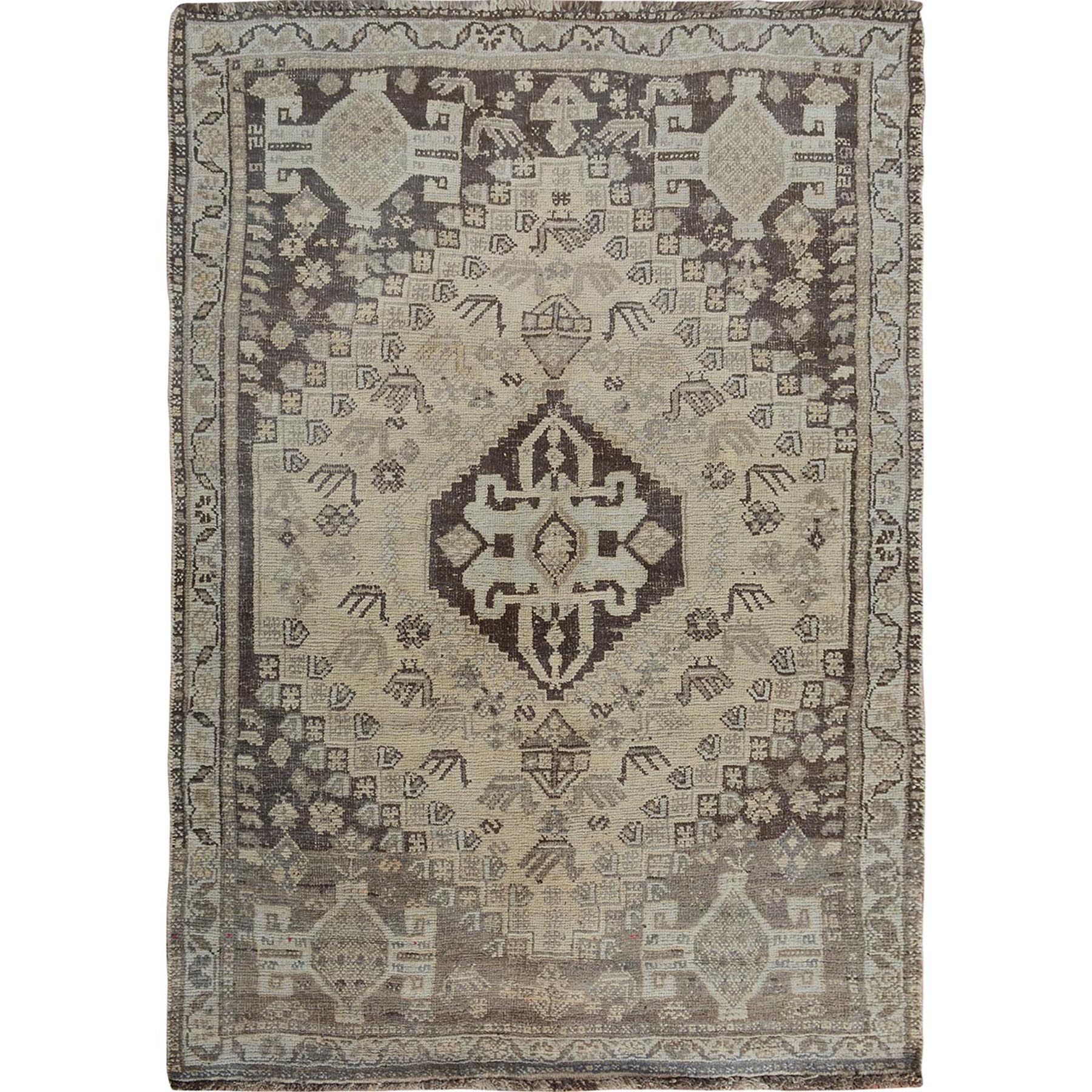 "3'10""x5'2"" Natural Colors Vintage And Worn Down Persian Shiraz Pure Wool Hand Woven Oriental Rug"