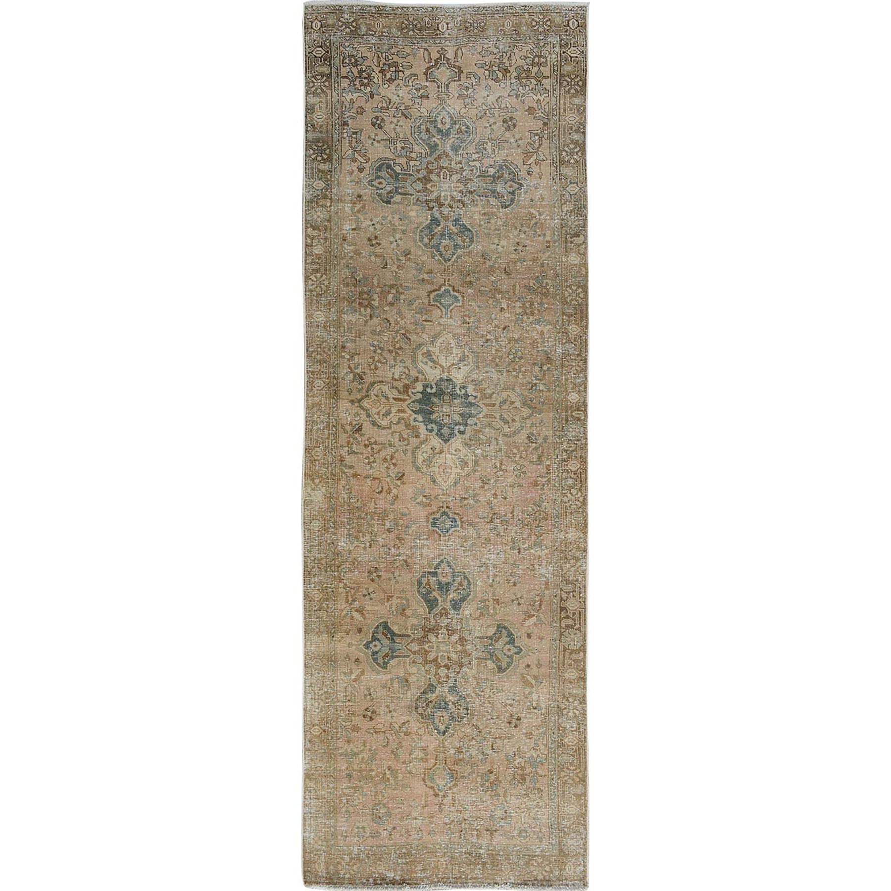 "3'6""x10'7"" Earth Tone Colors Old And Worn Down North West Persian Wide Runner Hand Woven Bohemian Rug"