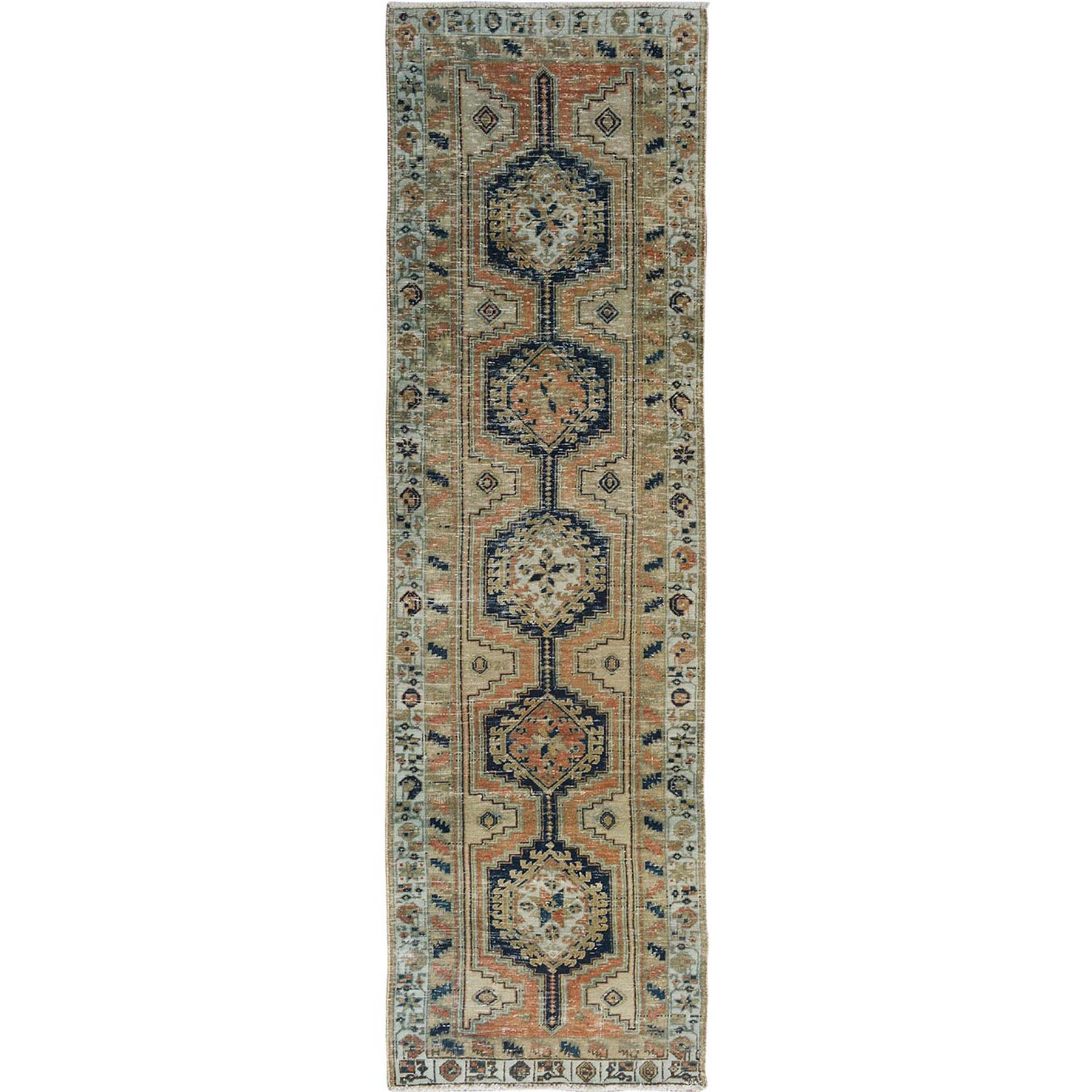 "3'1""x10'2"" Terracotta Wide Runner Vintage and Worn Down Persian Heriz Hand Woven Bohemian Rug"