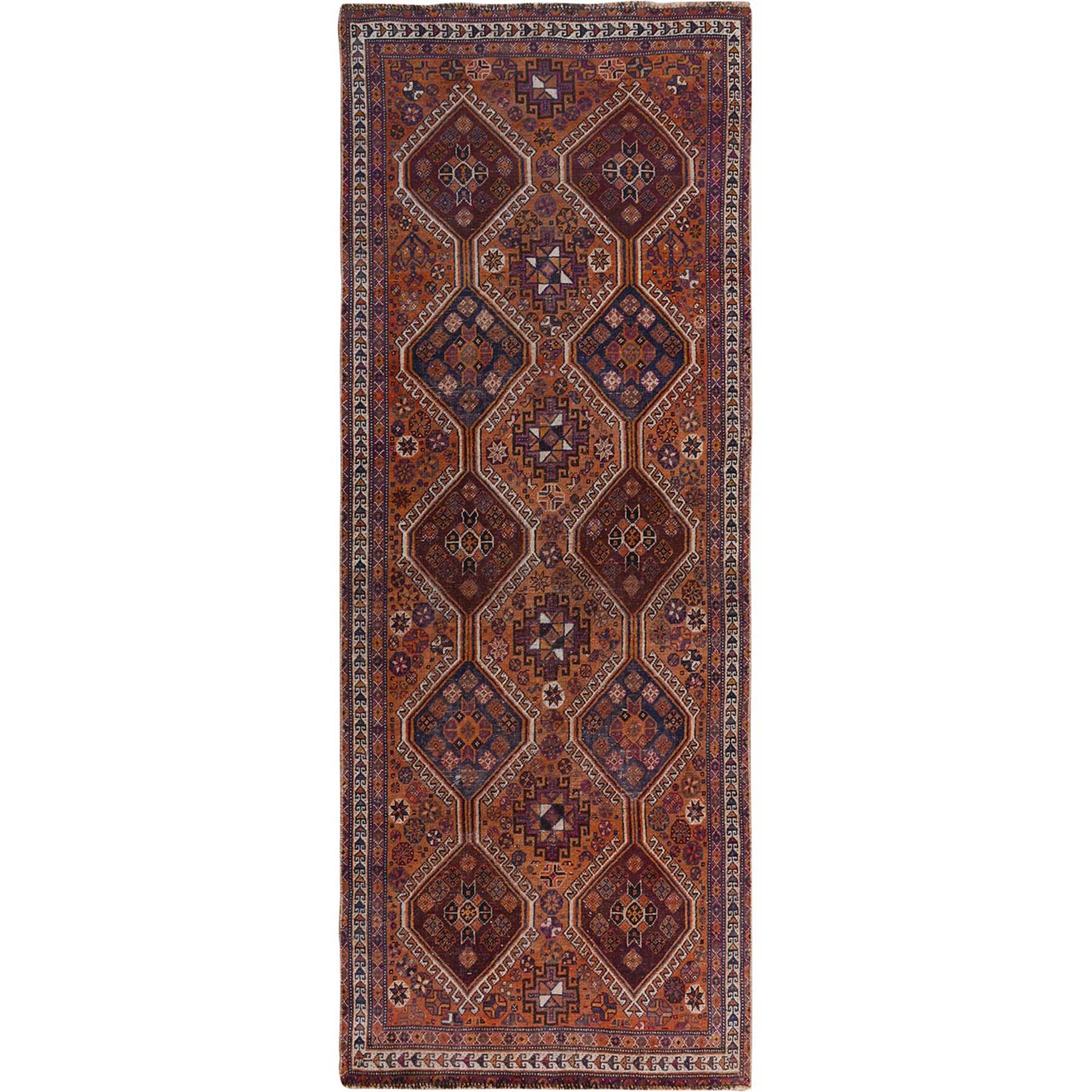 "3'10""x9'1"" Natural Colors Wide Runner Vintage And Worn Down Persian Shiraz Hand Woven Oriental Rug"