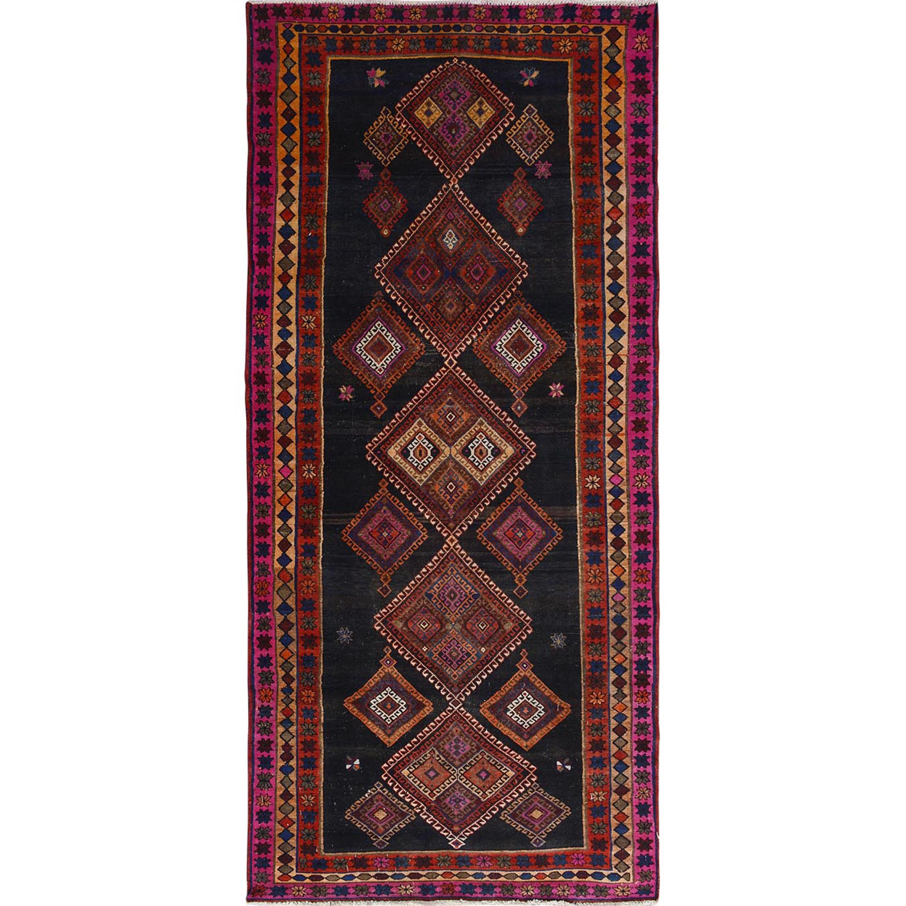 "5'x10'2"" Colorful Vintage And Worn Down Persian Bakhtiari Hand Woven Wide Runner Oriental Rug"