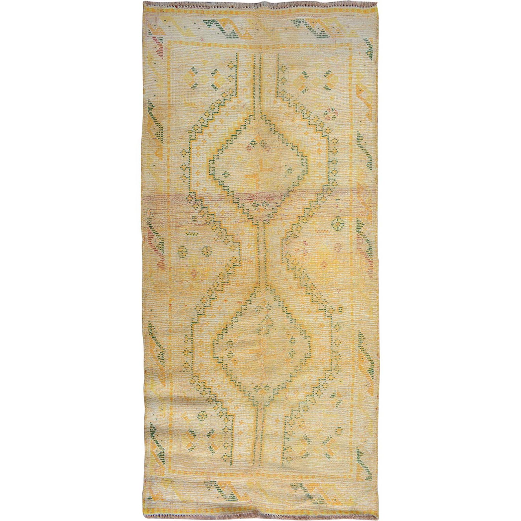 "3'2""x5'8"" Yellow Cropped And Worn Down Persian Shiraz Runner Pure Wool Hand Woven Oriental Rug"