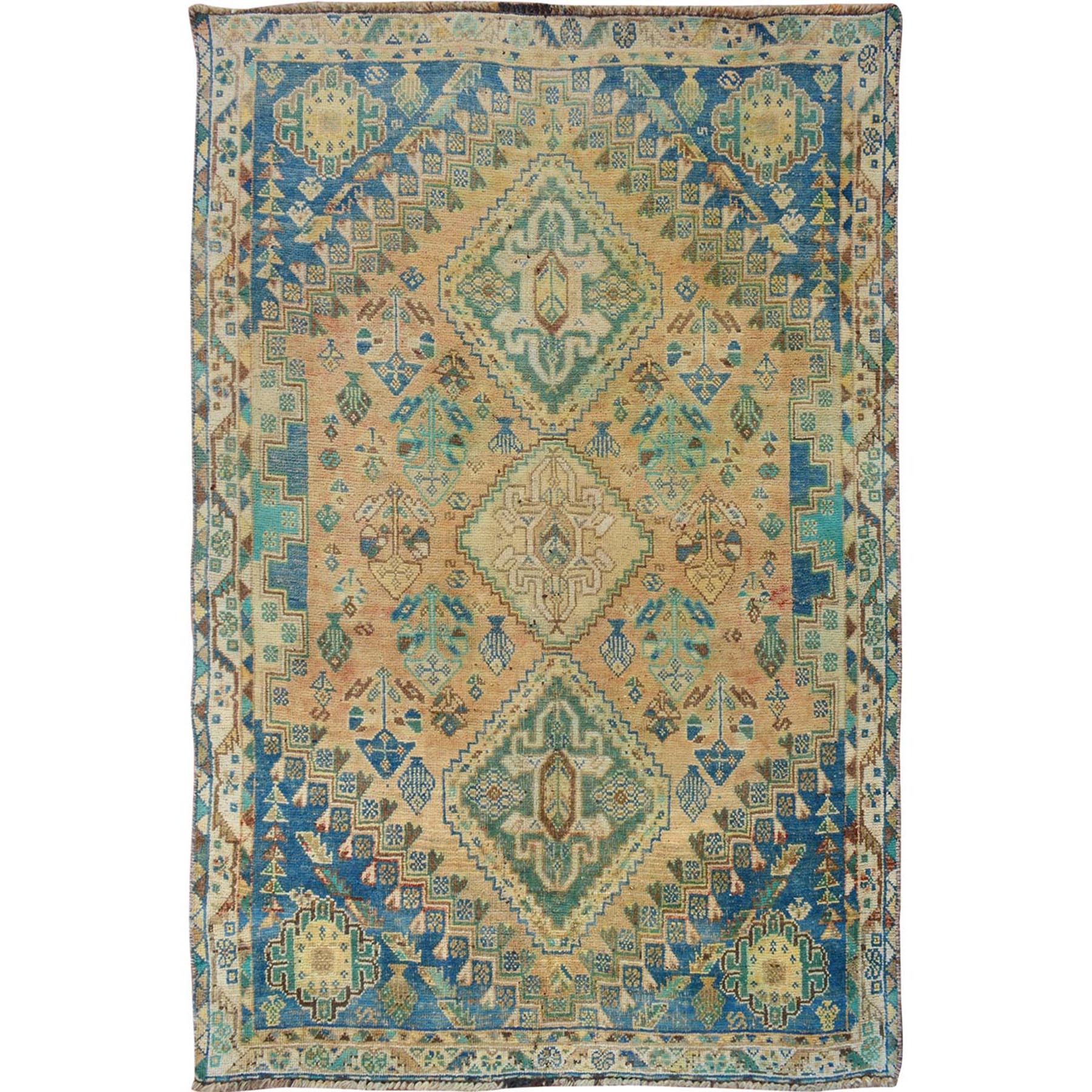 "3'8""x5' Natural Colors Vintage & Worn Down Persian Bakhtiari Pure Wool Hand Woven Oriental Rug"
