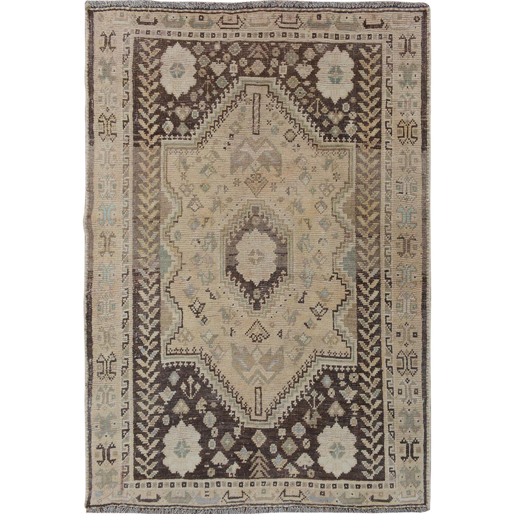 "3'9""x4'10"" Earth Tones Faded Vintage Persian Shiraz Worn Down Hand Woven Oriental Rug"