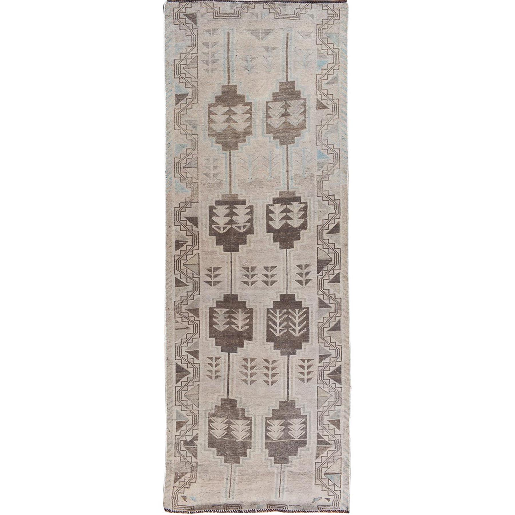 "3'9""x9'9"" Natural Colors Vintage And Worn Down Shiraz Wide Runner Pure Wool Hand Woven Oriental Rug"