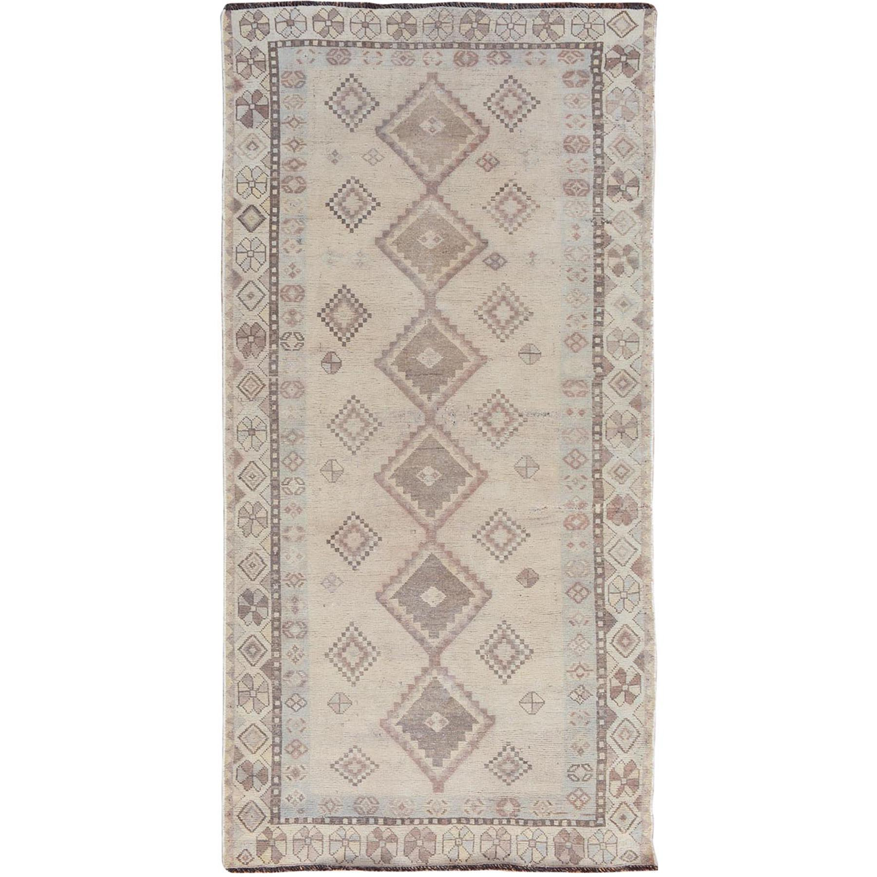 "4'x7'10"" Distressed Colors Vintage And Worn Down Persian Shiraz Wide Runner Pure Wool Bohemian Rug"