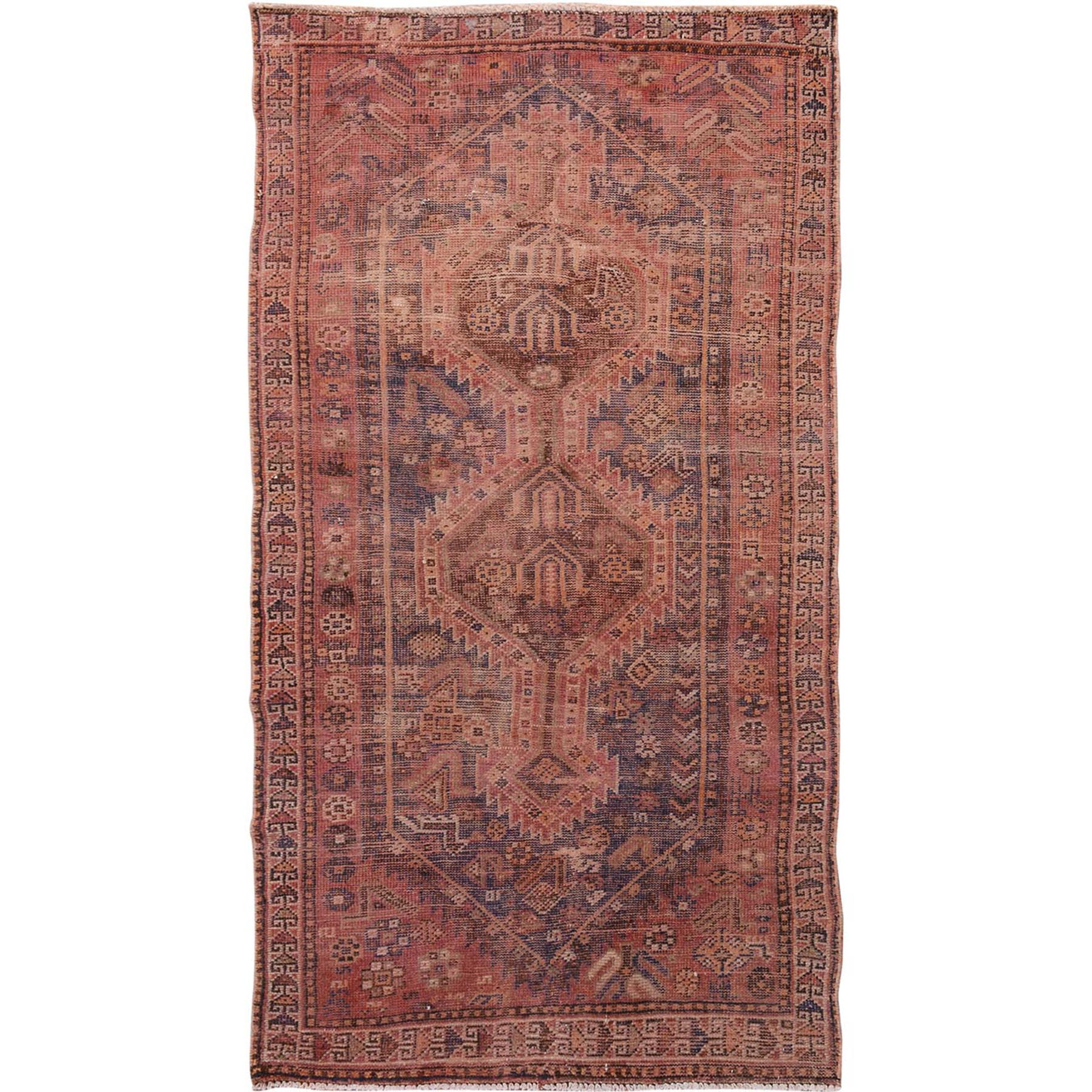"3'10""x7'3"" Washed Out Old And Worn Down Persian Shiraz Pure Wool Hand Woven Rug"