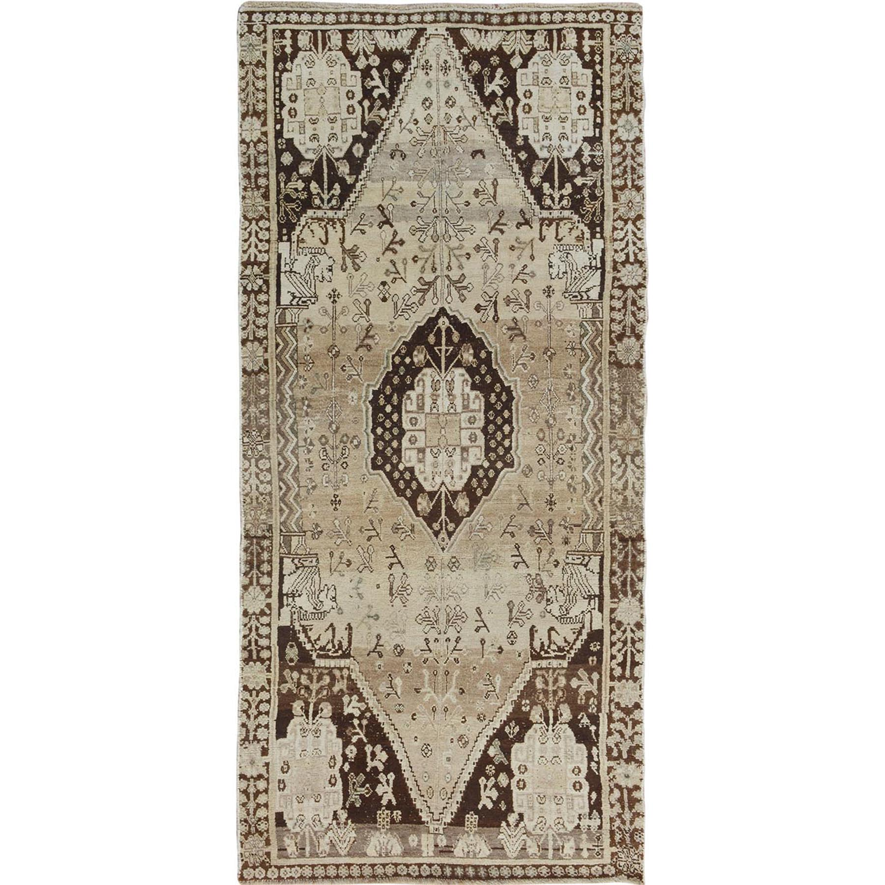 "3'8""x7'9""  Earth Tone Colors Old And Worn Down Persian Shiraz Wide Runner Hand Woven Bohemian Rug"