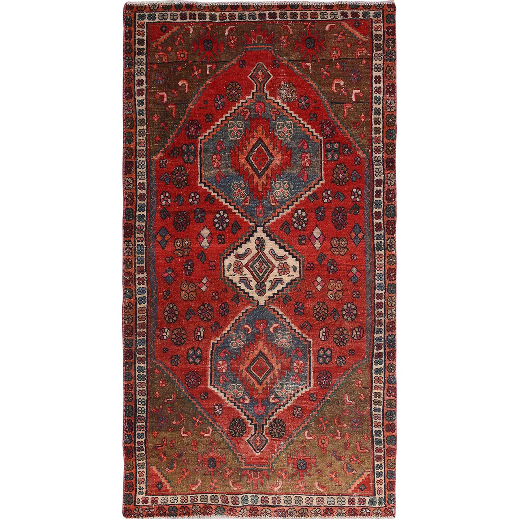 "4'x7'3"" Red Vintage And Worn Down Persian Afshar Wide Runner Pure Wool Hand Woven Oriental Rug"