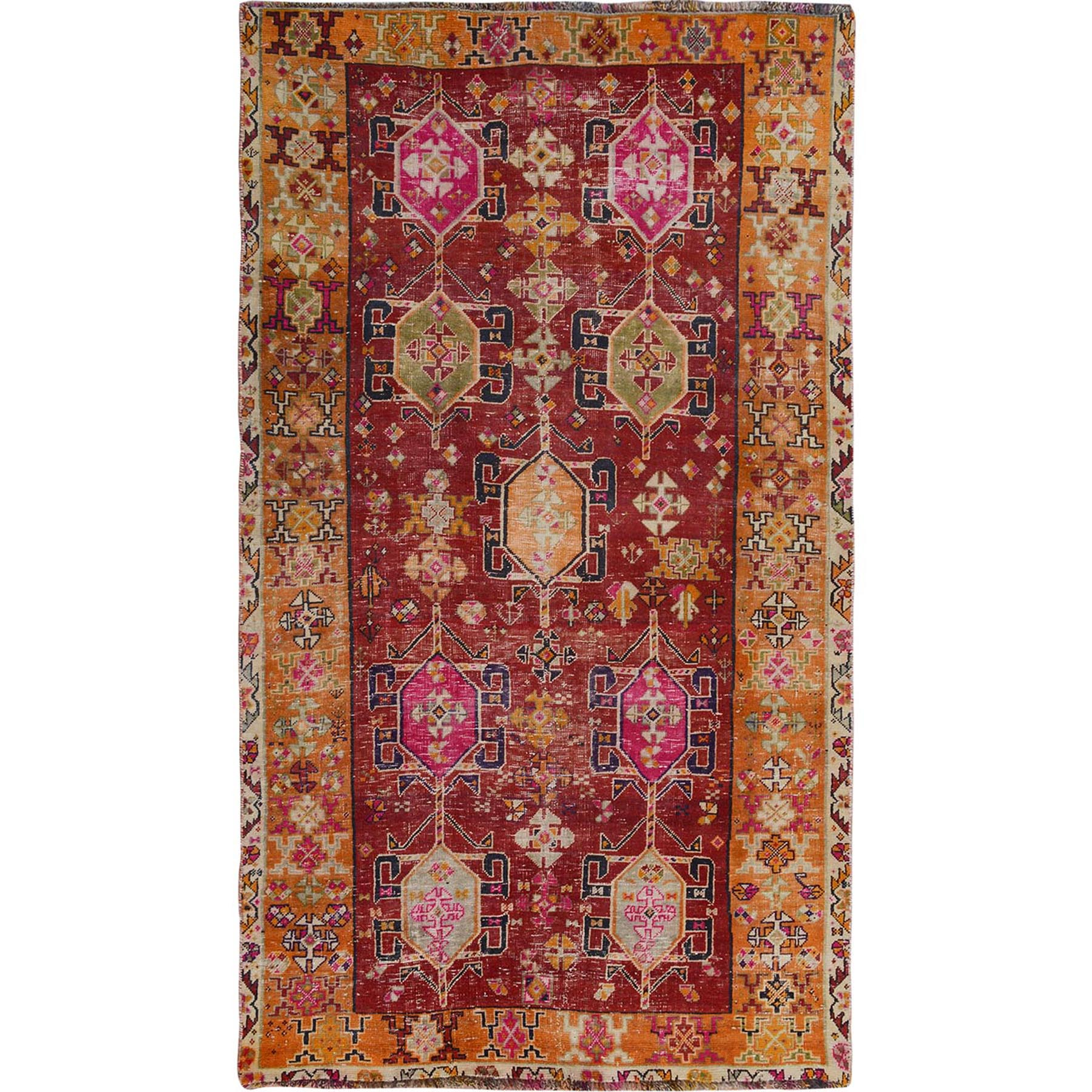 "4'10""x8'4"" Colorful Vintage And Worn Down Persian Qashqai Pure Wool Hand Woven Oriental Rug"