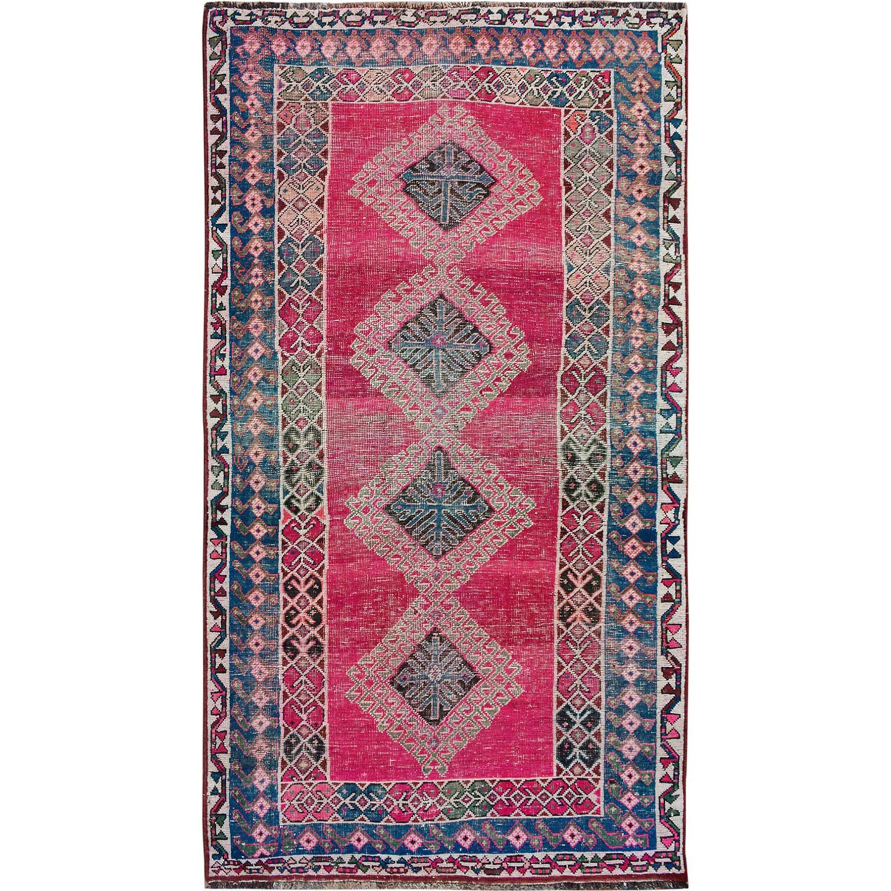 "4'5""x8' Colorful Vintage And Worn Down Persian Shiraz Pure Wool Oriental Rug"