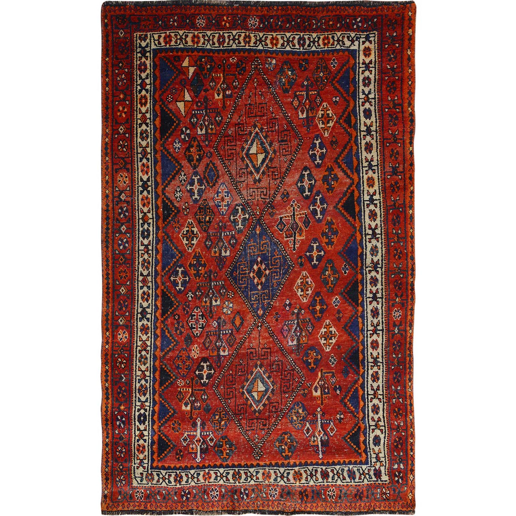"5'2""x7'10"" Rust Red Old And Worn Down Persian Qashqai Pure Wool Bohemian Rug"