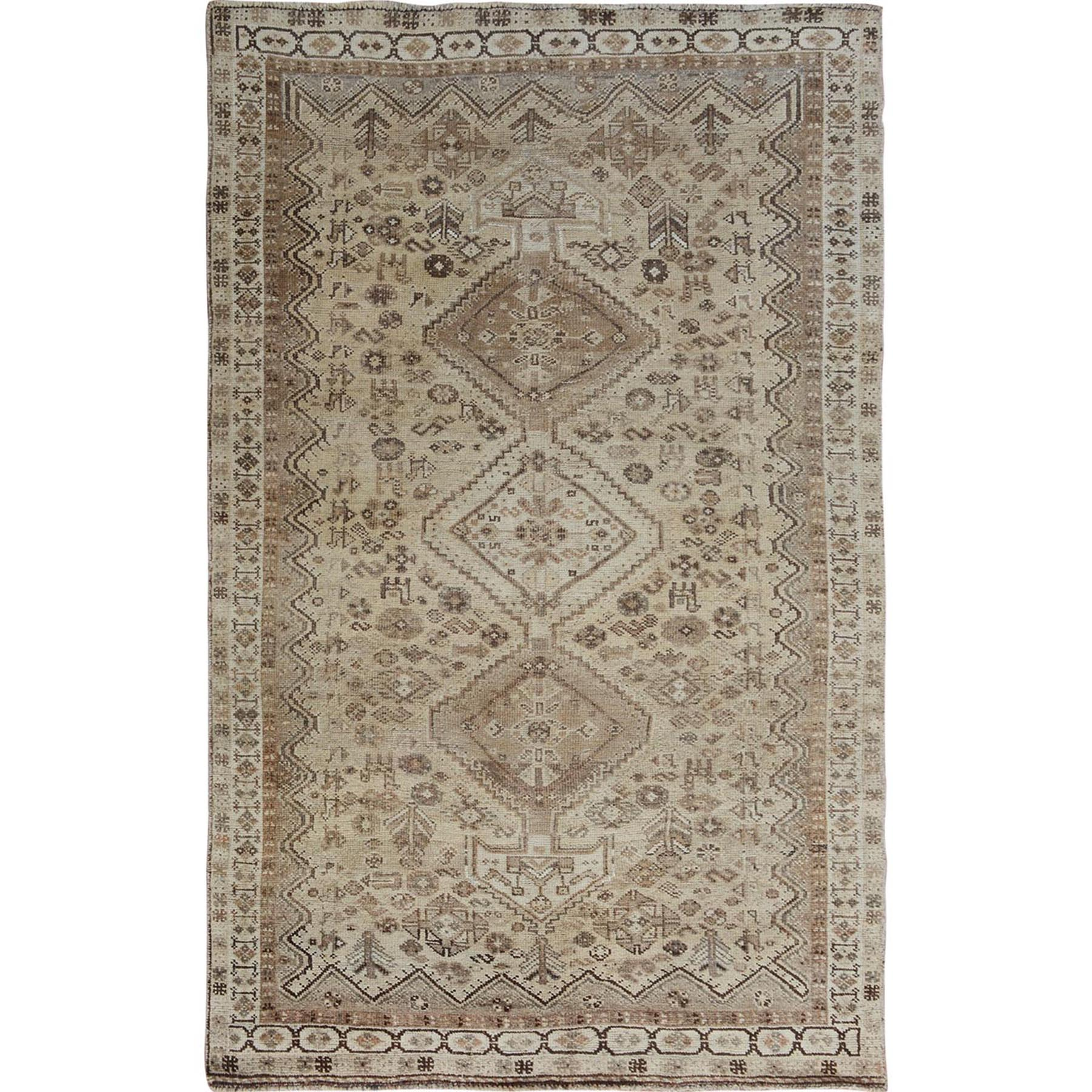 "4'10""x7'8"" Beige Old And Worn Down Persian Qashqai Pure Wool Hand Woven Oriental Rug"