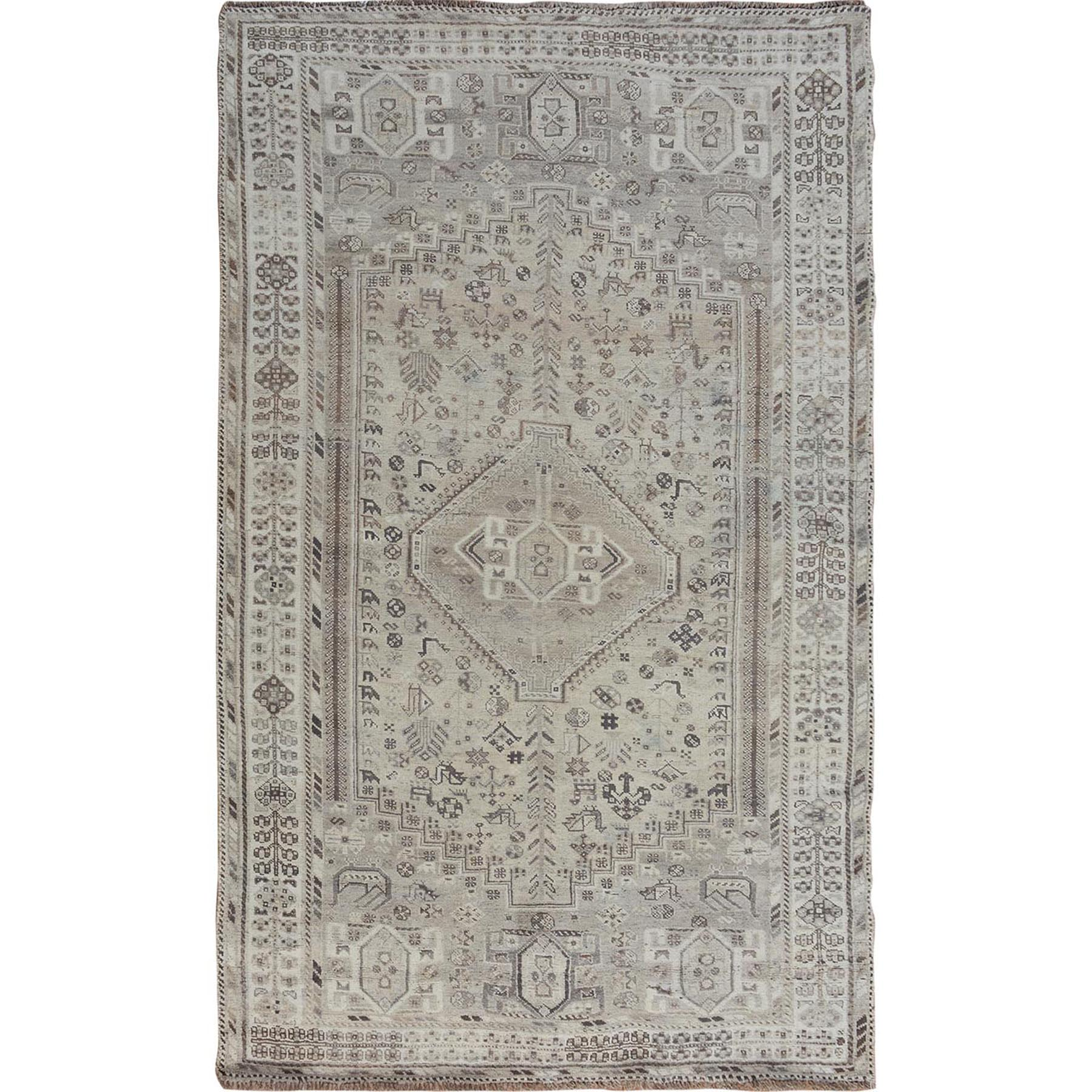 "5'8""x8'6"" Washed Out Vintage And Worn Down Persian Qashqai Pure Wool Hand Woven Oriental Rug"