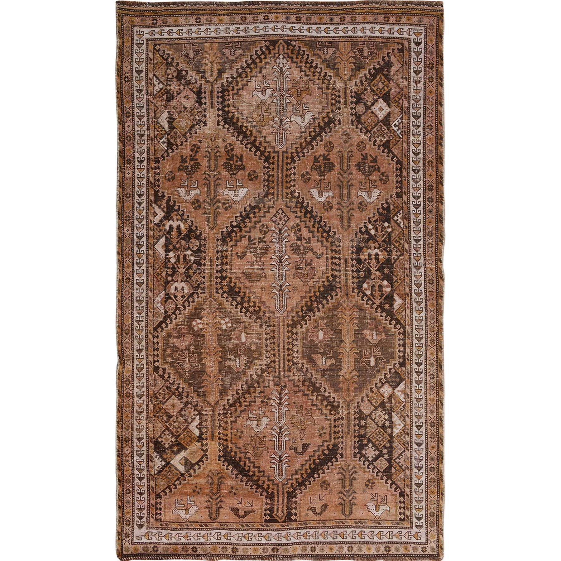 "4'9""x8'6"" Brown Vintage And Worn Down Persian Qashqai Pure Wool Hand Woven Oriental Rug"