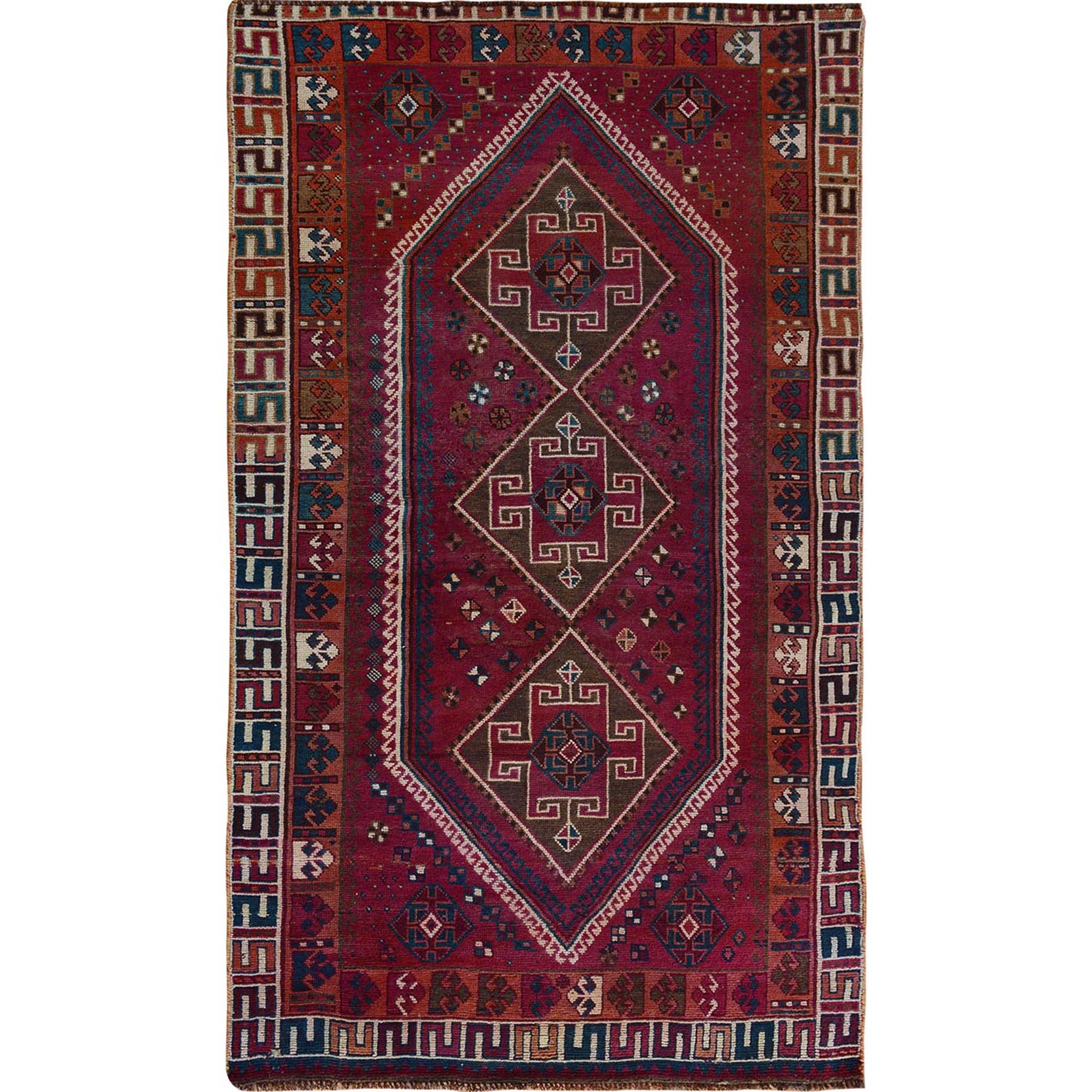 "4'7""x8'8"" Red Old And Worn Down Persian Shiraz Hand Woven Oriental Rug"
