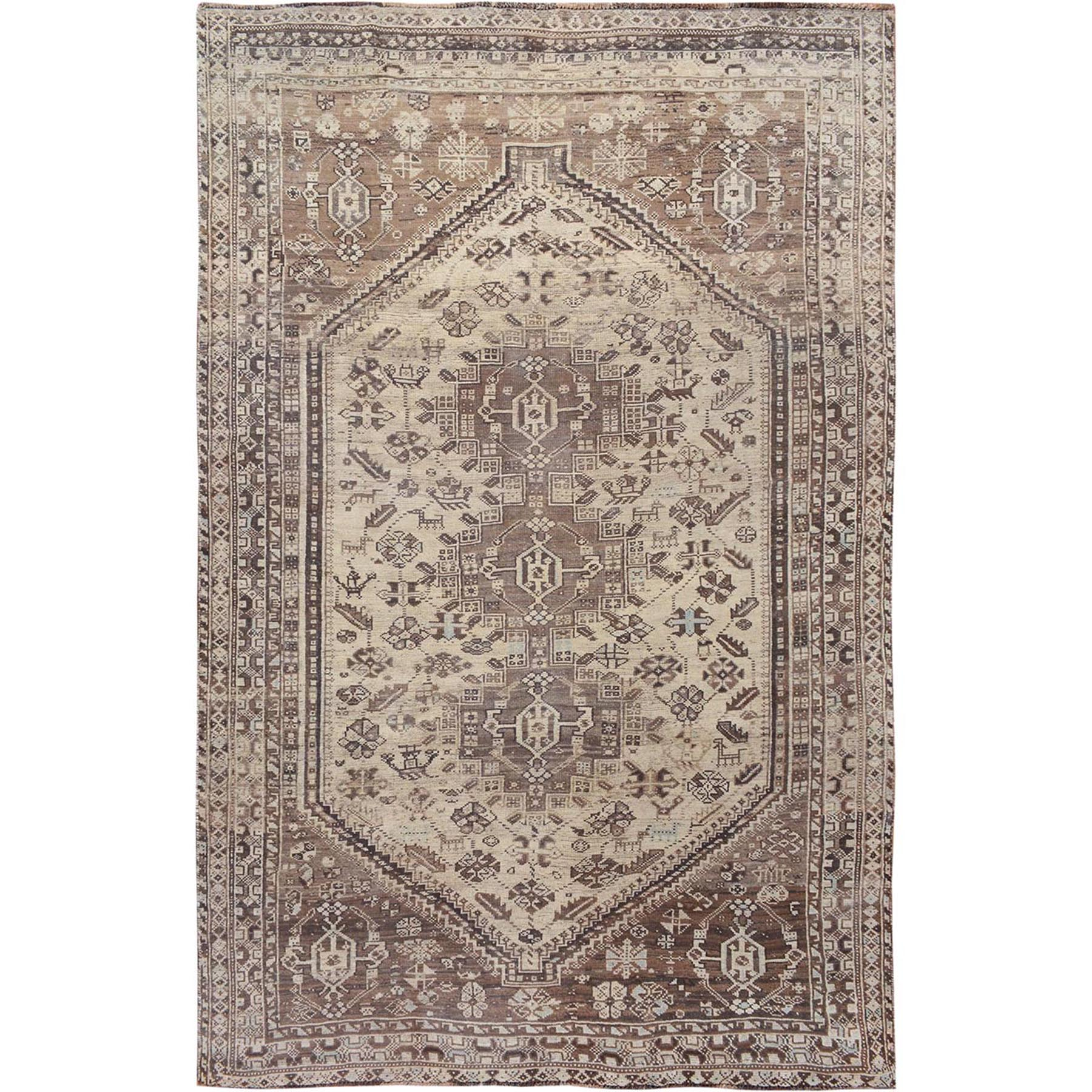 "6'4""x8'10"" Brown Old And Worn Down Persian Qashqai Pure Wool Hand Woven Oriental Rug"