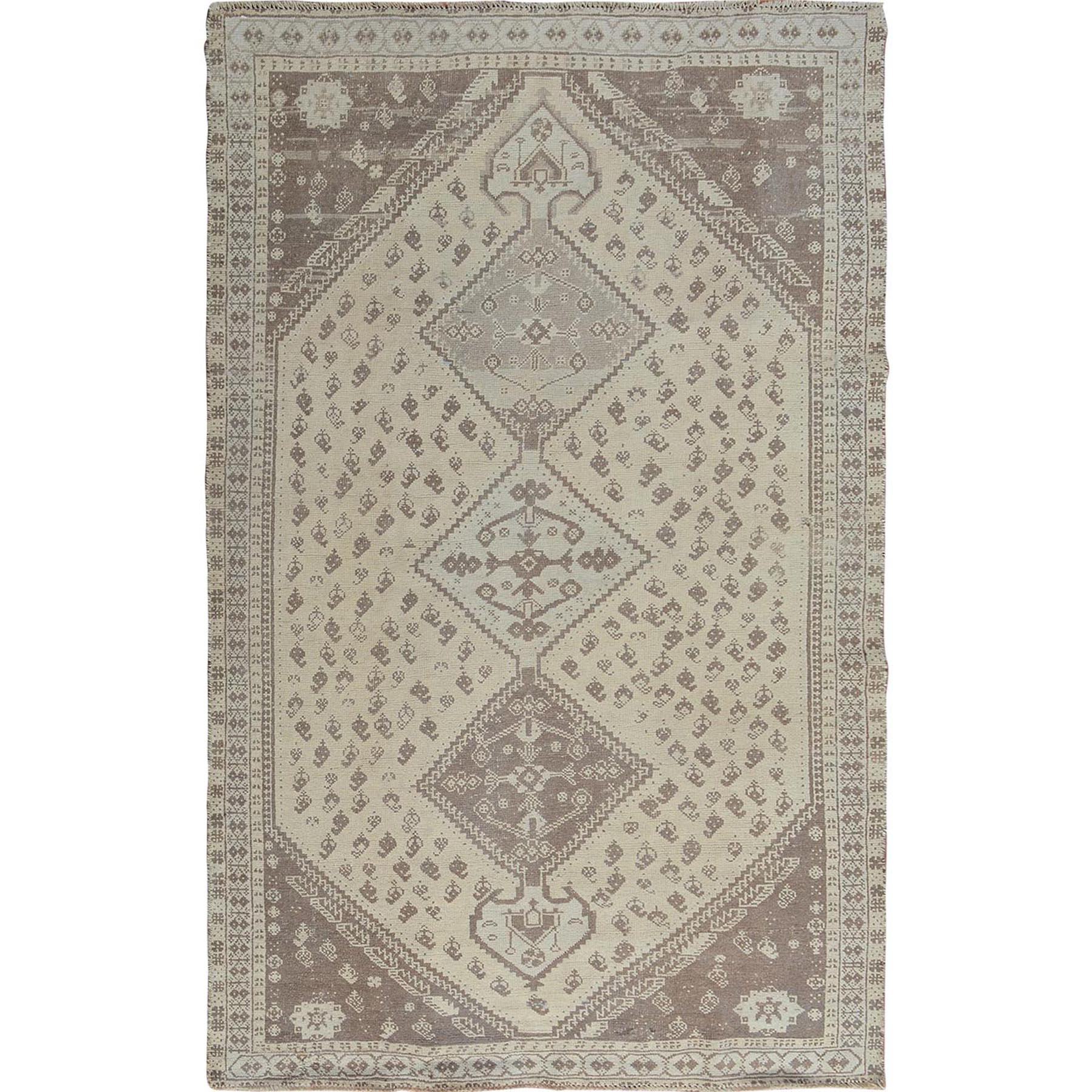 "5'x7'9"" Natural Colors Vintage And Worn Down Persian Shiraz Pure Wool Hand Woven Oriental Rug"