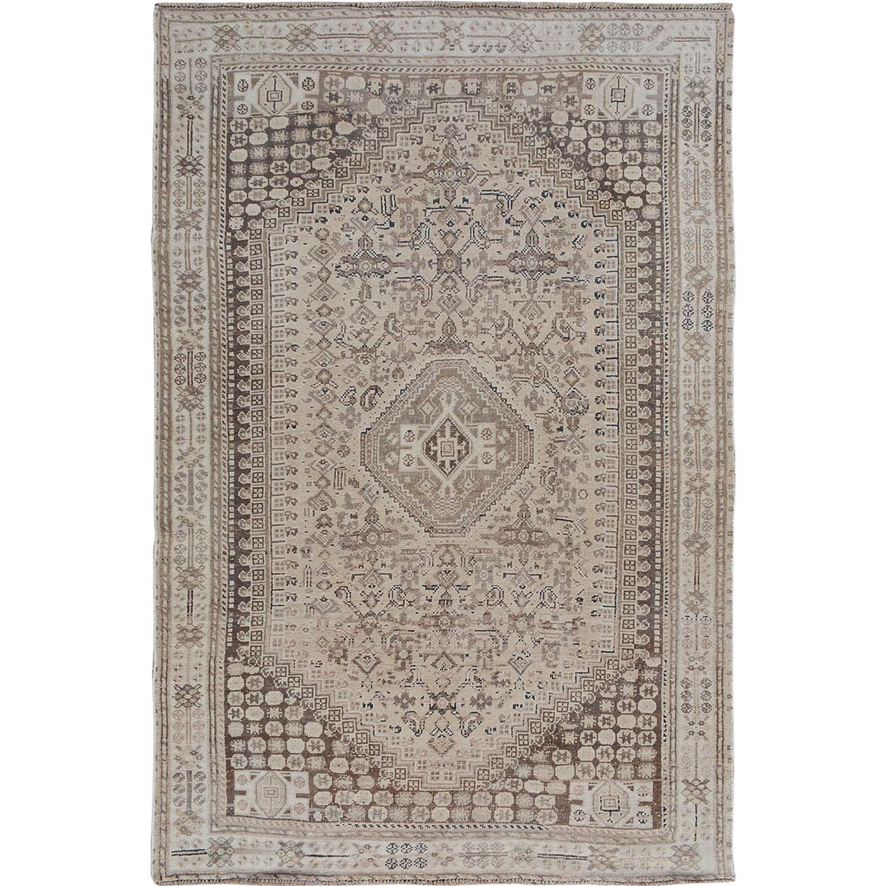 "5'6""x8'2"" Natural Colors Old and Worn Down Persian Qashqai Pure Wool Hand Woven Oriental Rug"