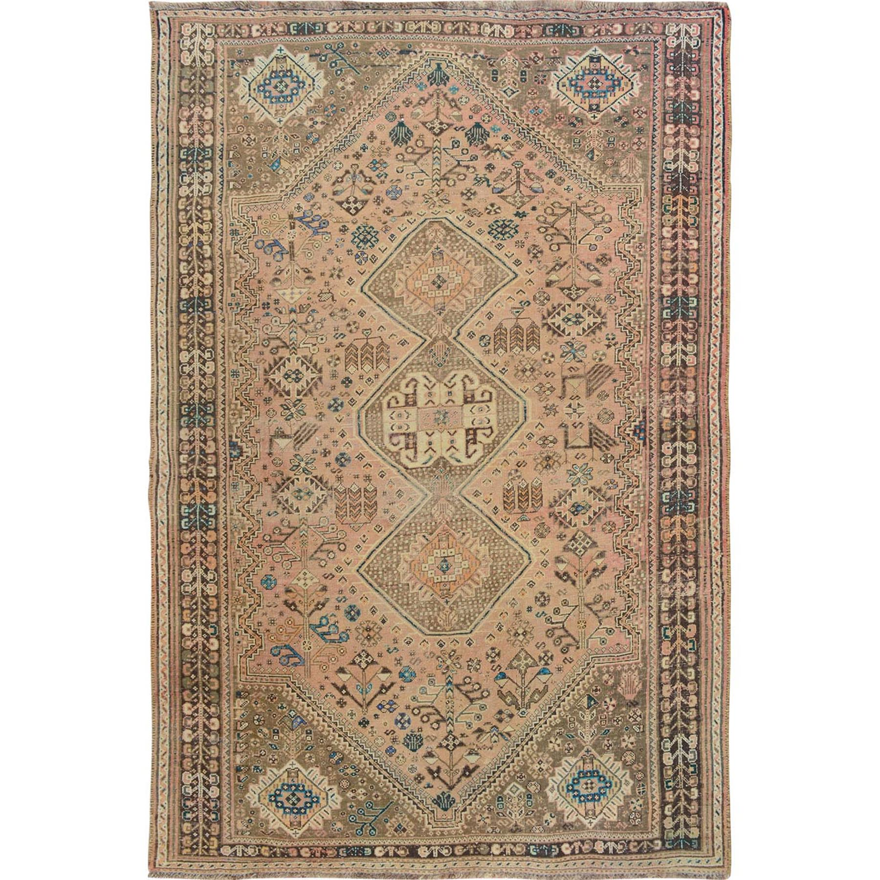 "5'10""x9' Coral Vintage and Worn Down Persian Qashqai Hand Woven Oriental Rug"