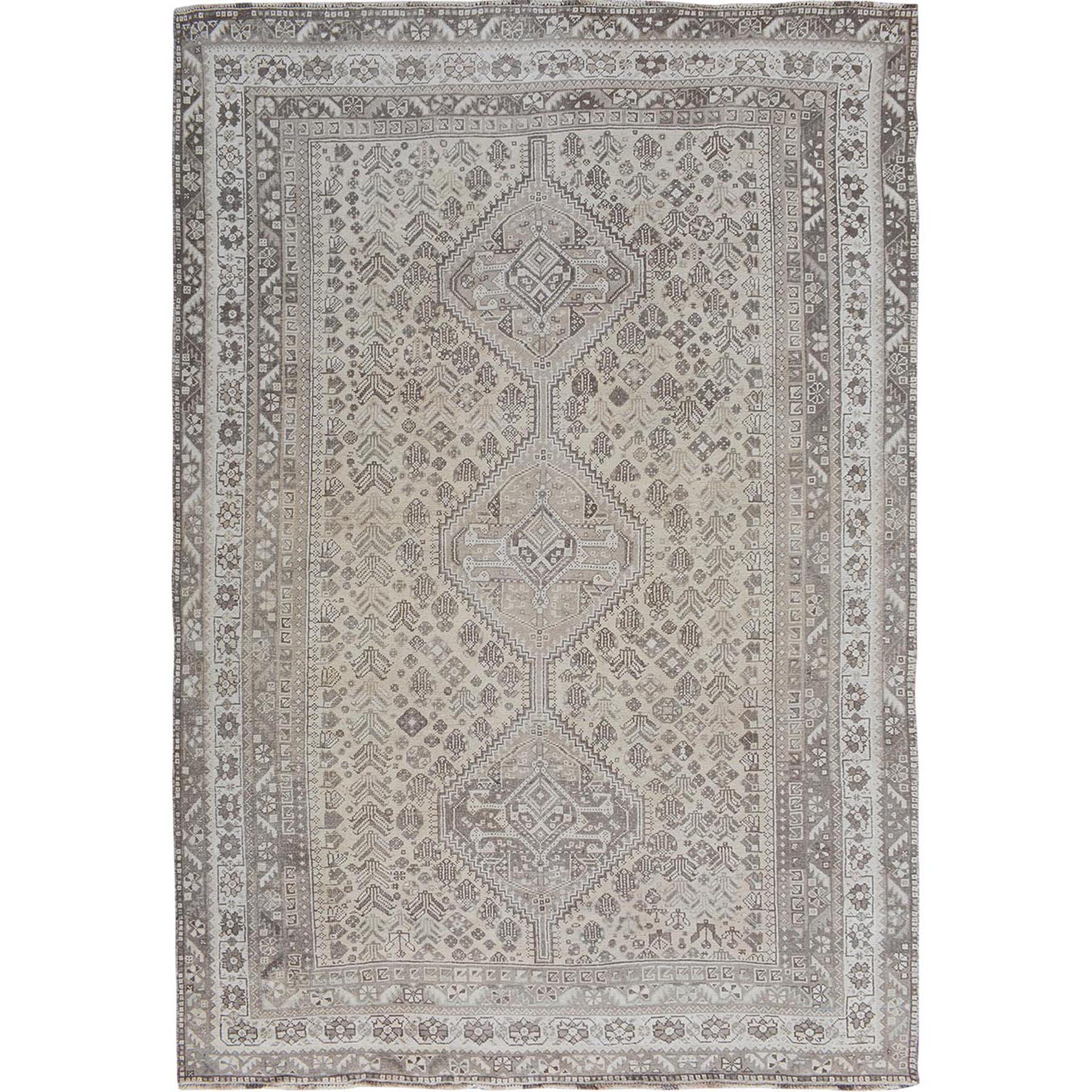 "7'7""x10'5"" Beige Vintage and Worn Down Persian Qashqai Hand Woven Oriental Rug"