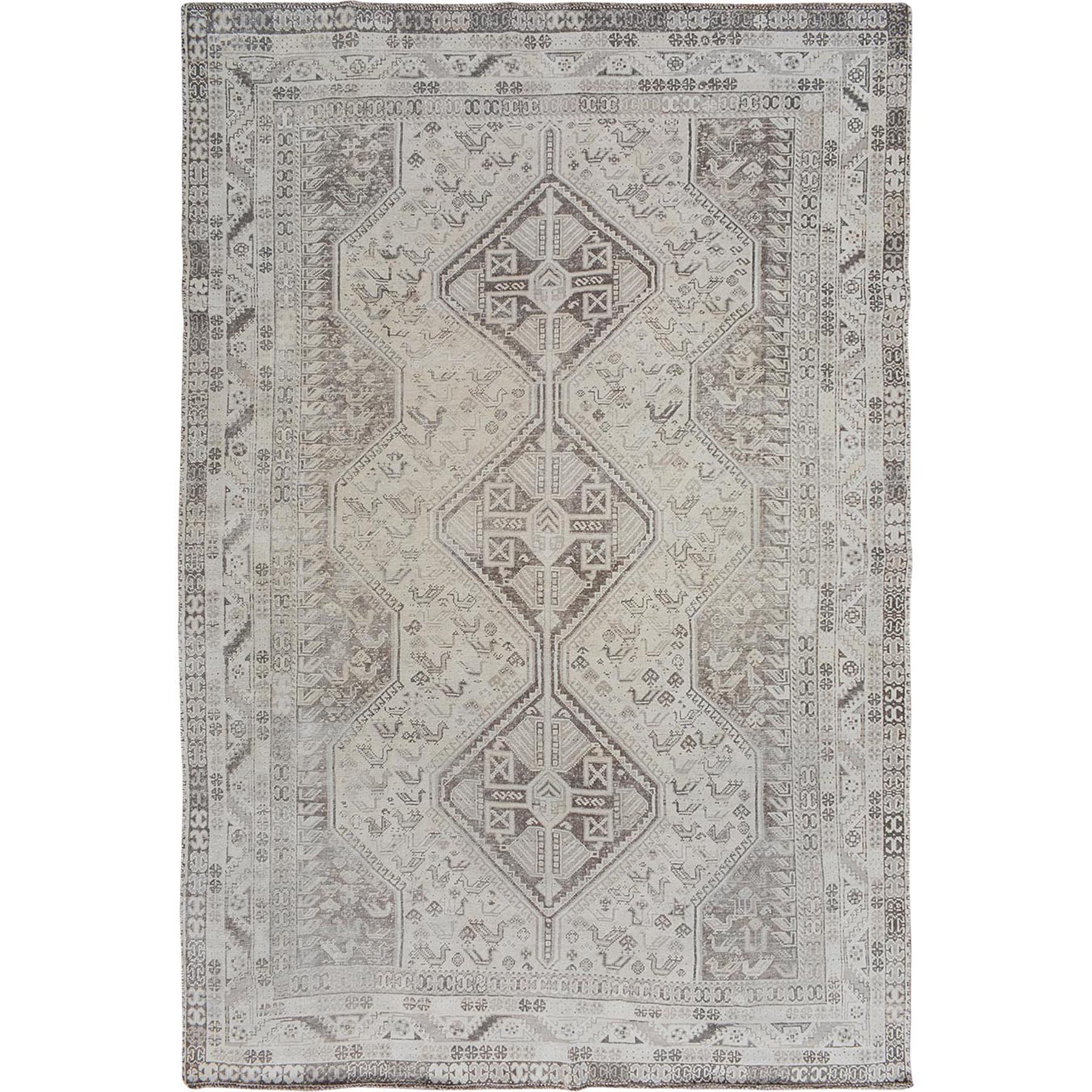 "6'10""x9'6"" Ivory Faded Vintage Persian Qashqai Worn Down Hand Woven Oriental Rug"