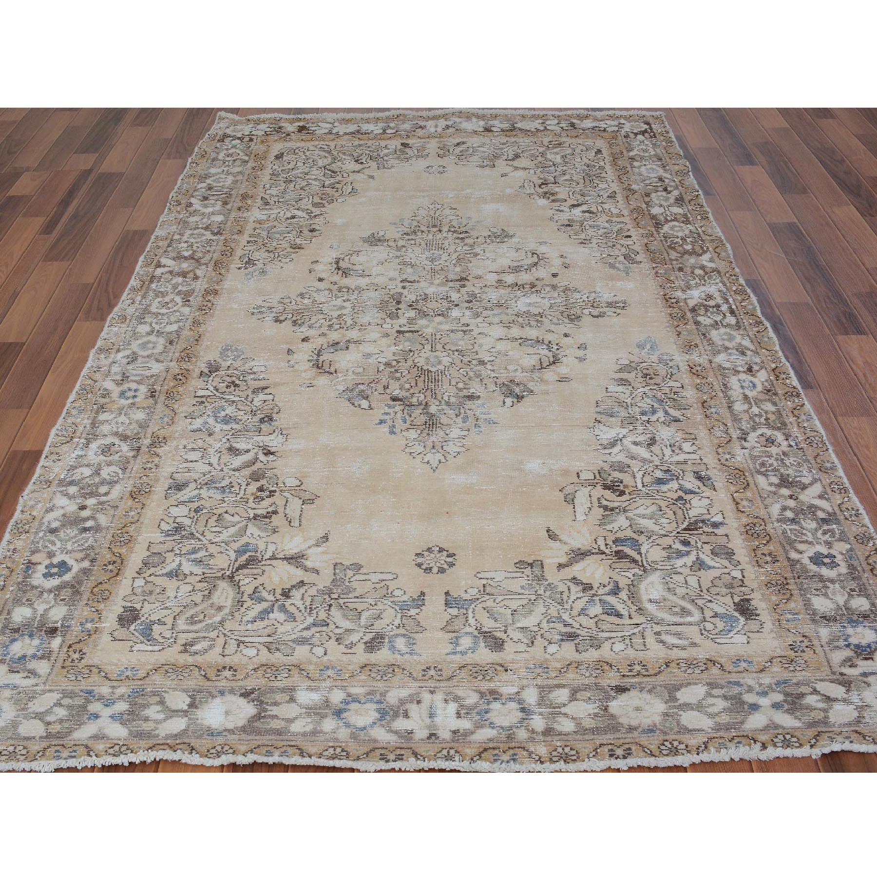 "5'1""x9'3"" Earth Tones Gallery Size Worn Down and Vintage Persian Lilahan Pure Wool Oriental Rug"