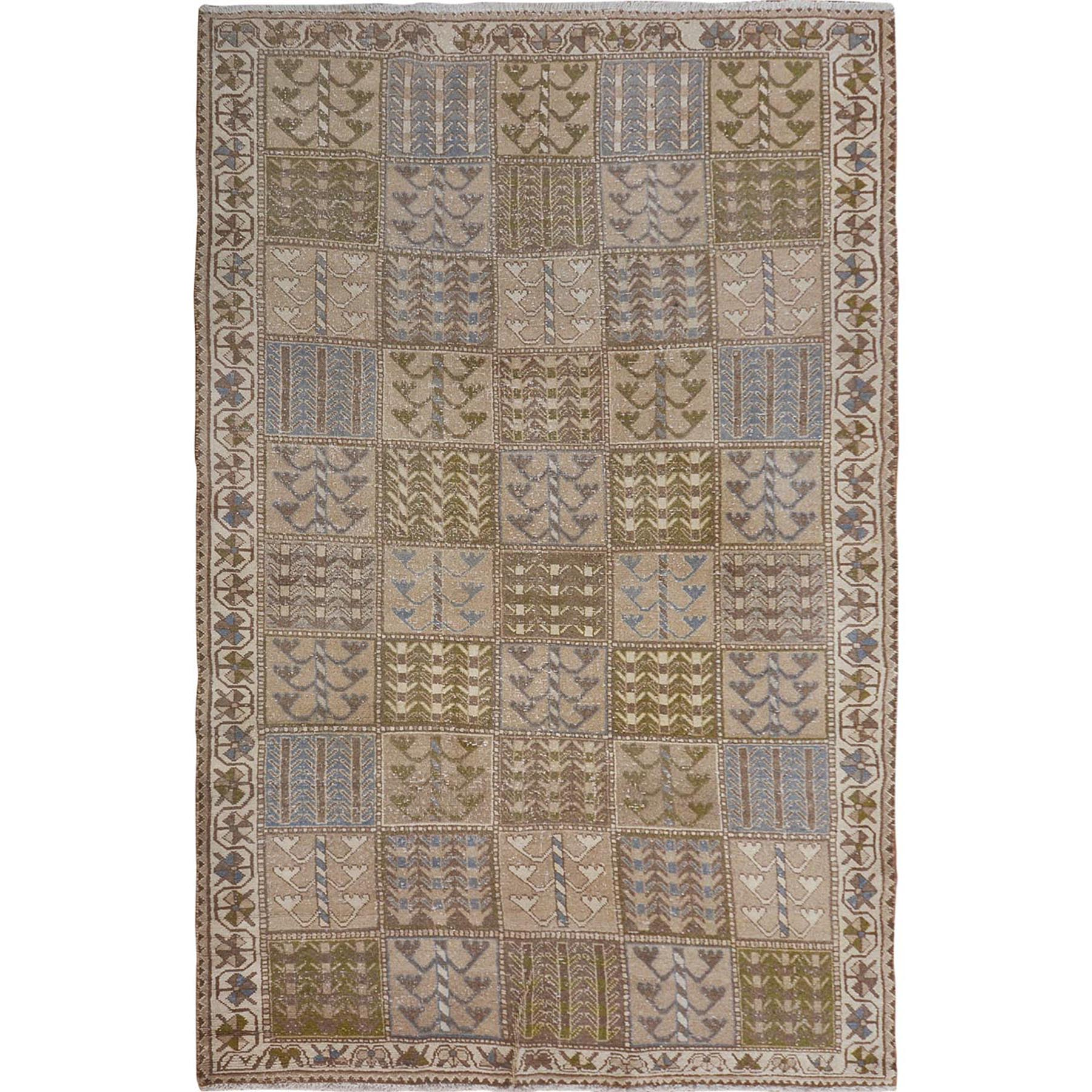 5'x9' Natural Colors Gallery Size Old and Worn Down Persian Bakhtiari Hand Woven Oriental Rug