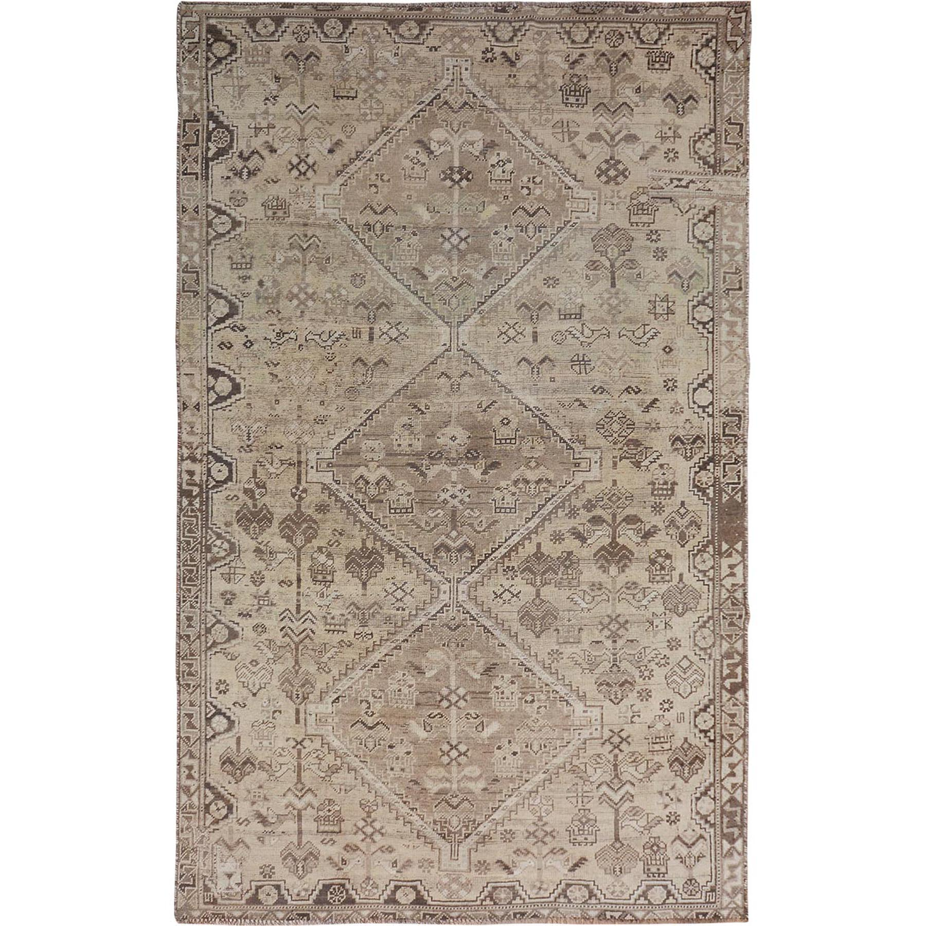 "5'2""x8'9"" Beige Gallery Size Vintage and Worn Down Persian Qashqai Hand Woven Pure Wool Oriental Rug"