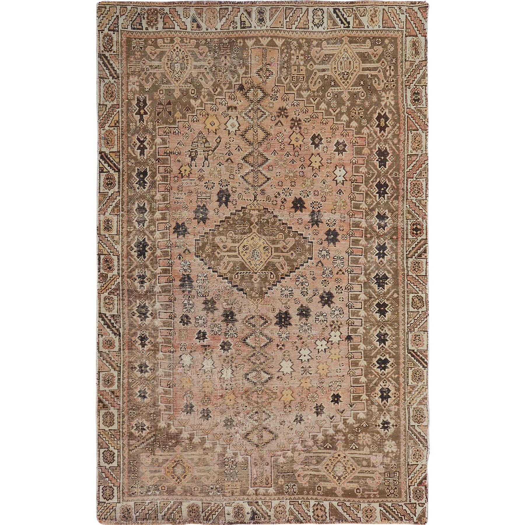"4'3""x6'2"" Faded Colors Worn Down And Old Persian Qashqai Pure Wool Hand Woven Oriental Rug"