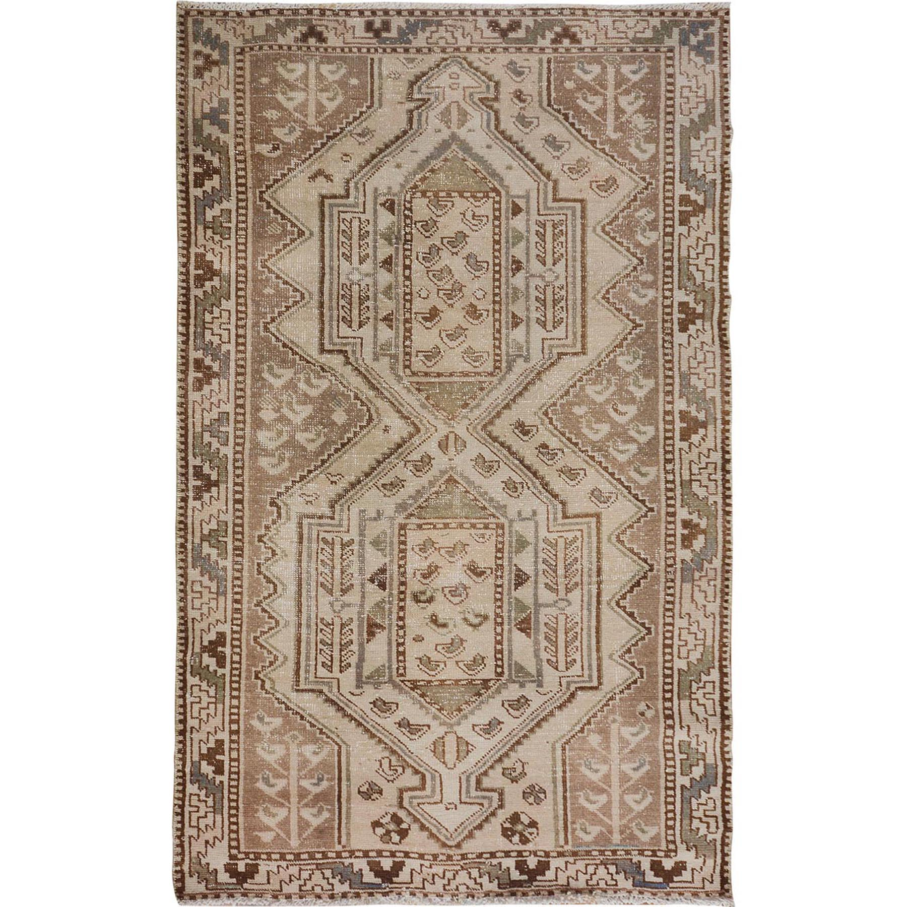 "4'1""x7'2"" Distressed Colors Vintage And Worn Down Persian Shiraz Pure Wool Hand Woven Oriental Rug"