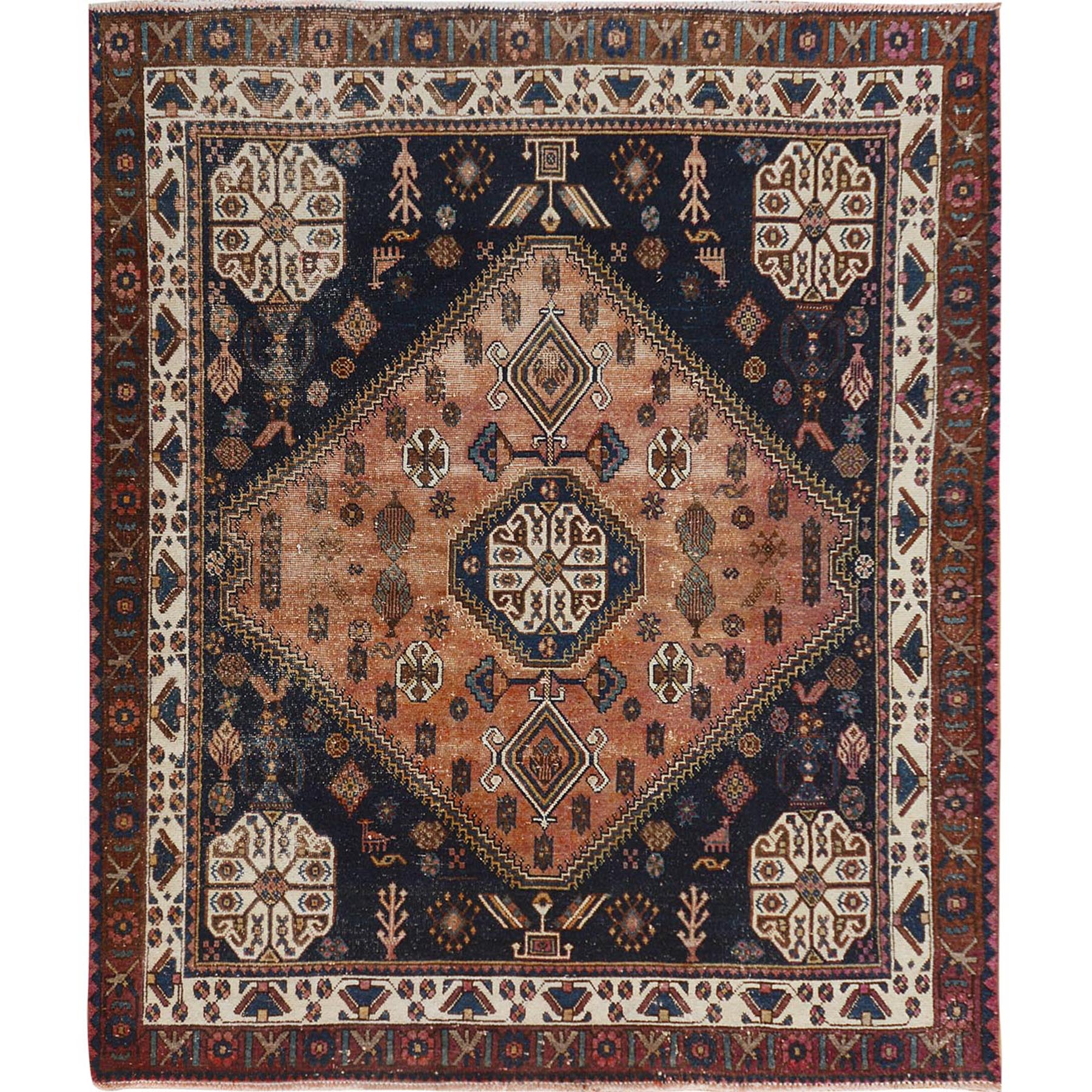 "5'7""x6'7"" Navy Blue Squarish Size Persian Shiraz Worn Down And Vintage Pure Wool Oriental Rug"
