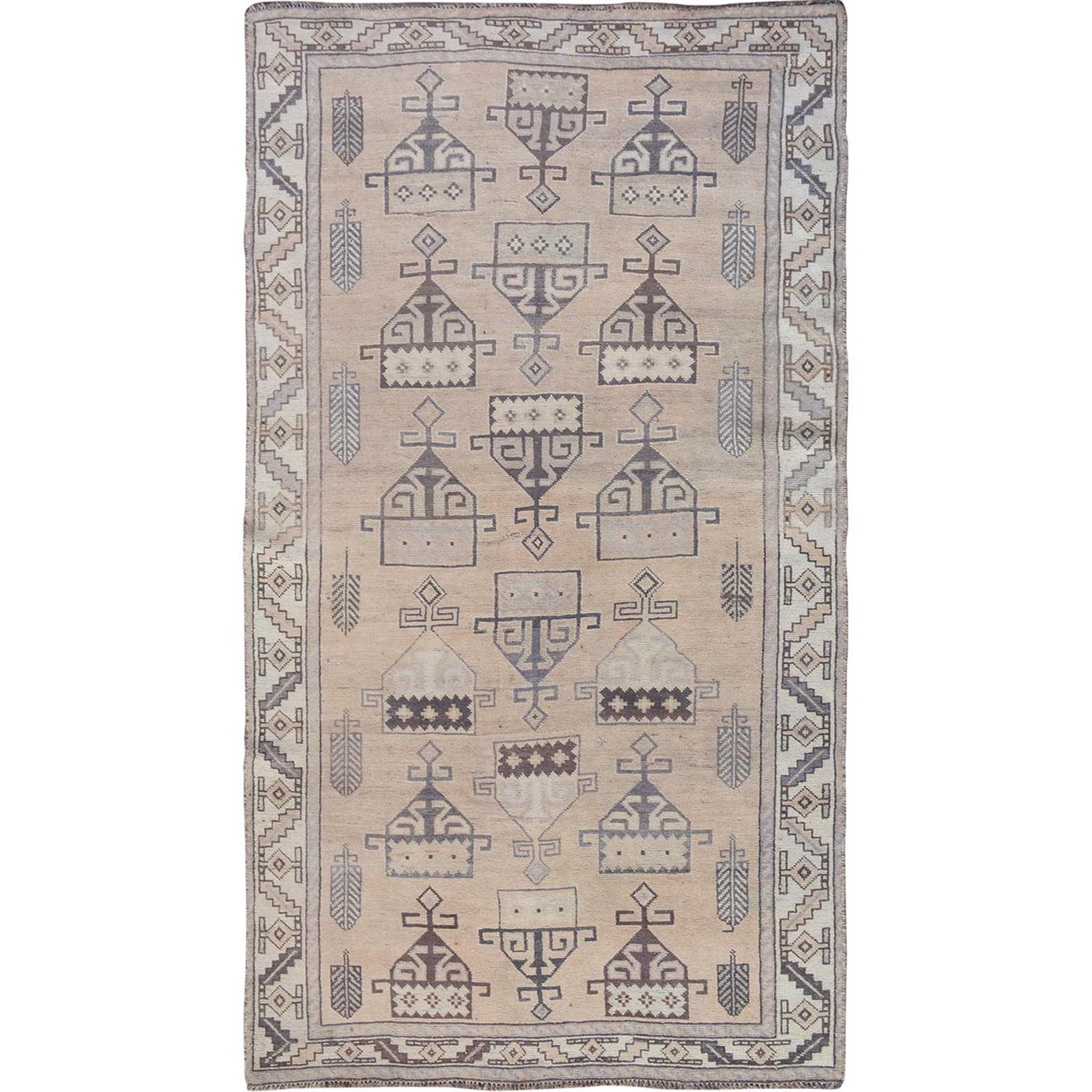 "4'9""x9' Natural Colors Gallery Size Old and Worn Down Persian Shiraz Hand Woven Oriental Rug"